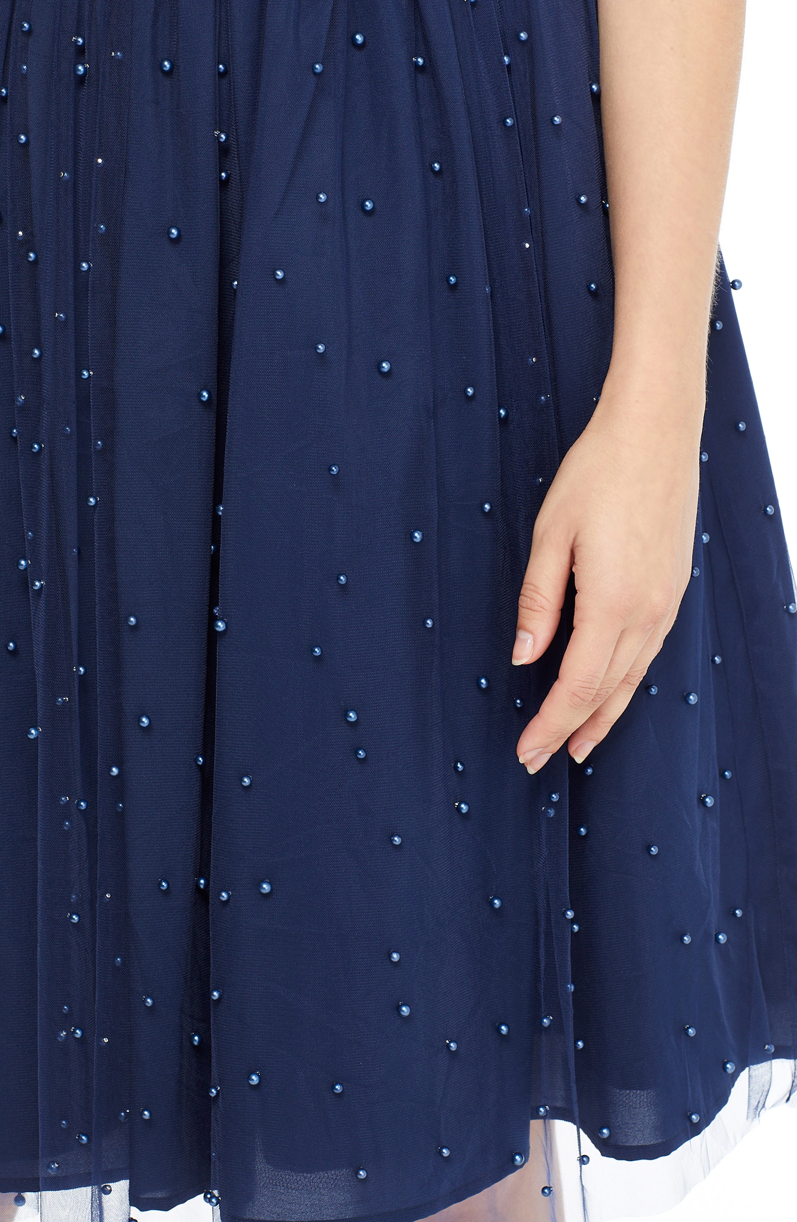GAL MEETS GLAM COLLECTION,                             Delores Vintage Pearl Mesh & Crepe Dress,                             Alternate thumbnail 4, color,                             NAVY