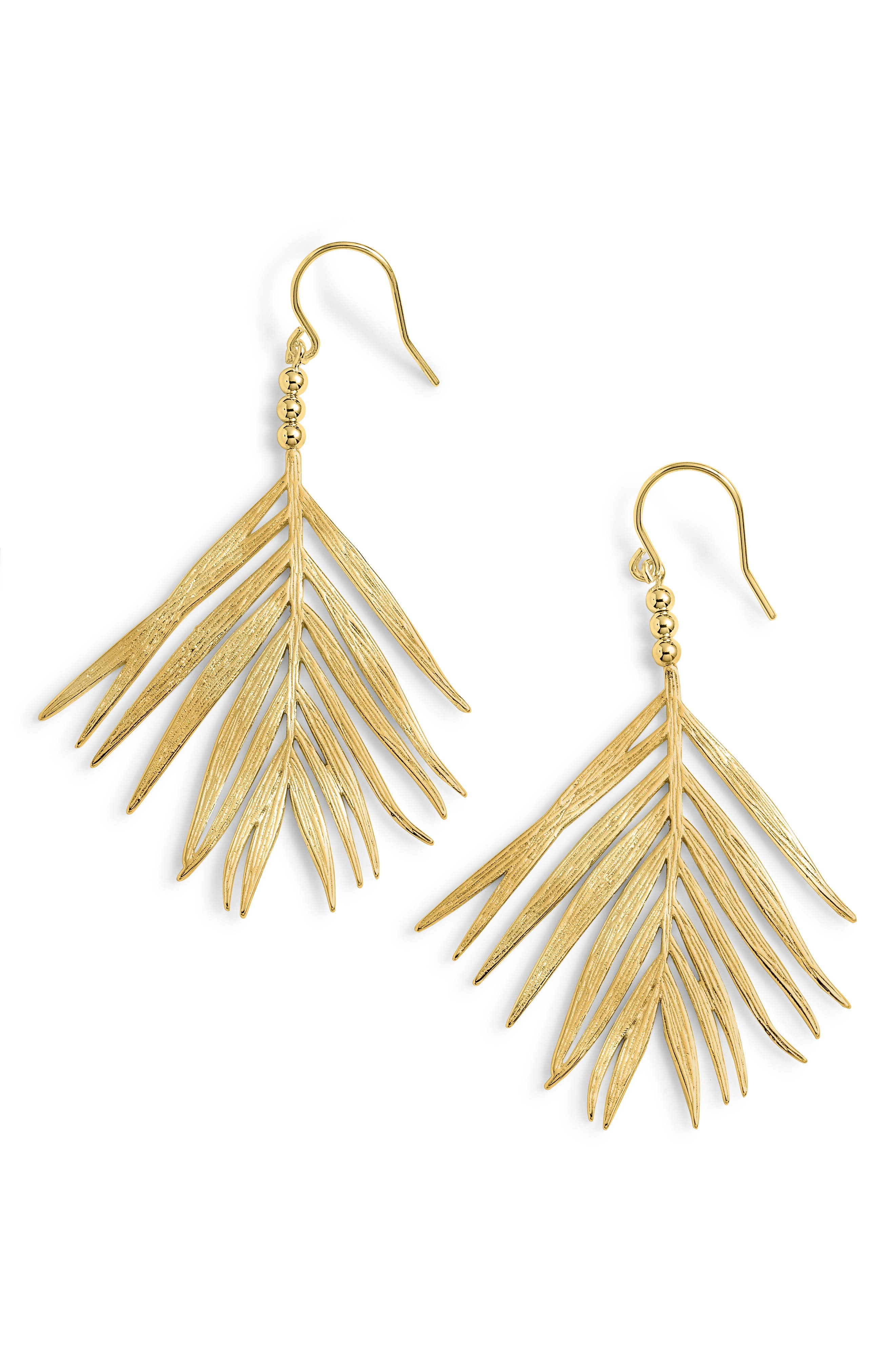 Palm Drop Earrings,                         Main,                         color, GOLD