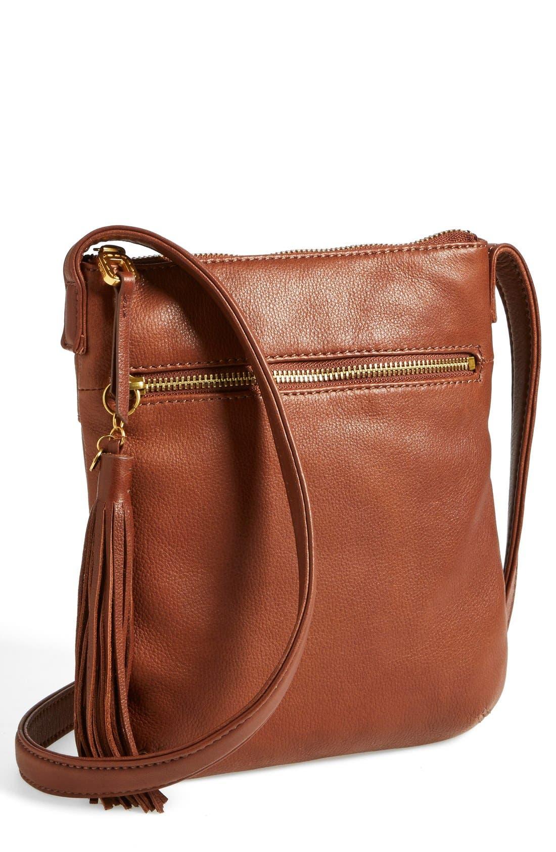 'Sarah' Leather Crossbody Bag,                             Main thumbnail 3, color,