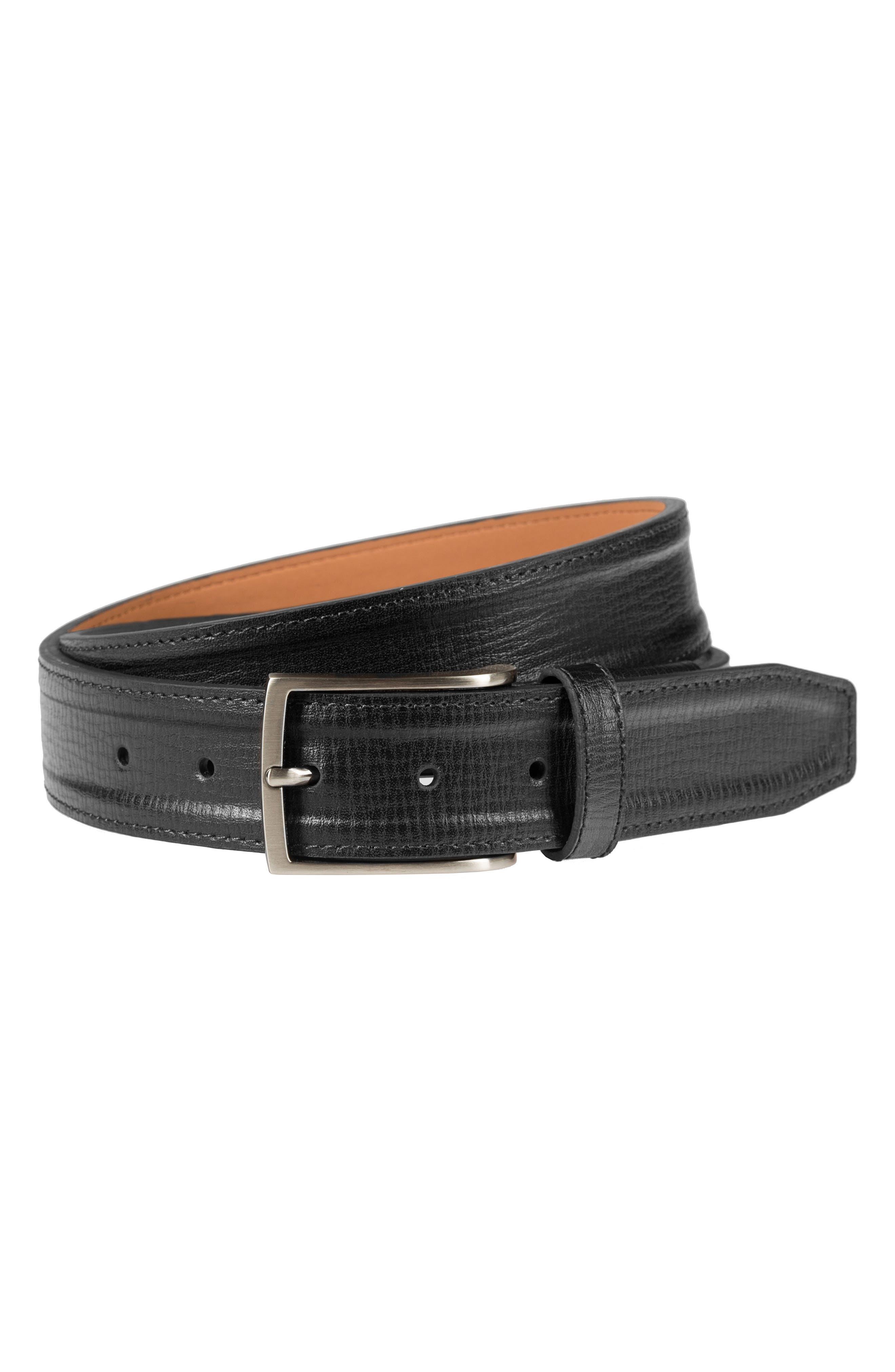 Trapunto G Flex Leather Belt,                         Main,                         color, BLACK