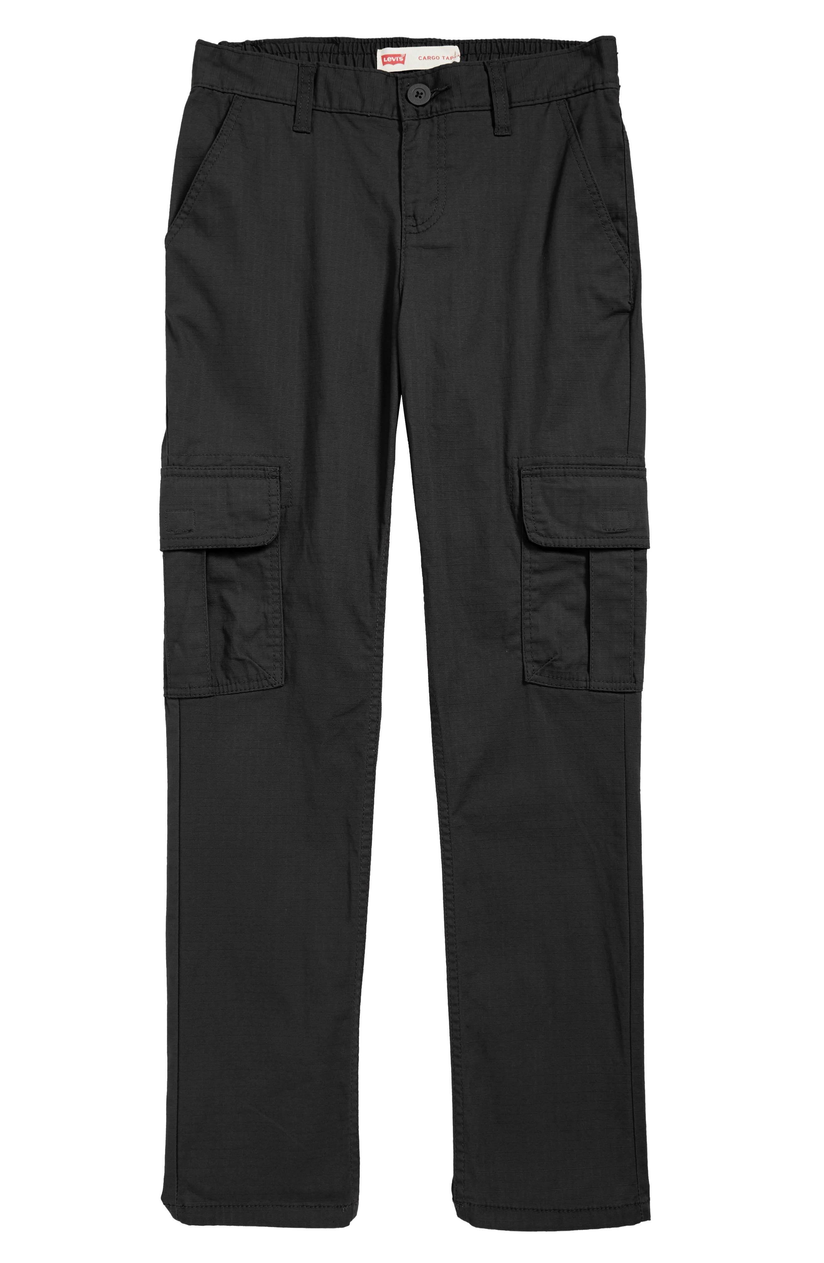 Stretch Cargo Tapered Pants,                         Main,                         color, ONYX