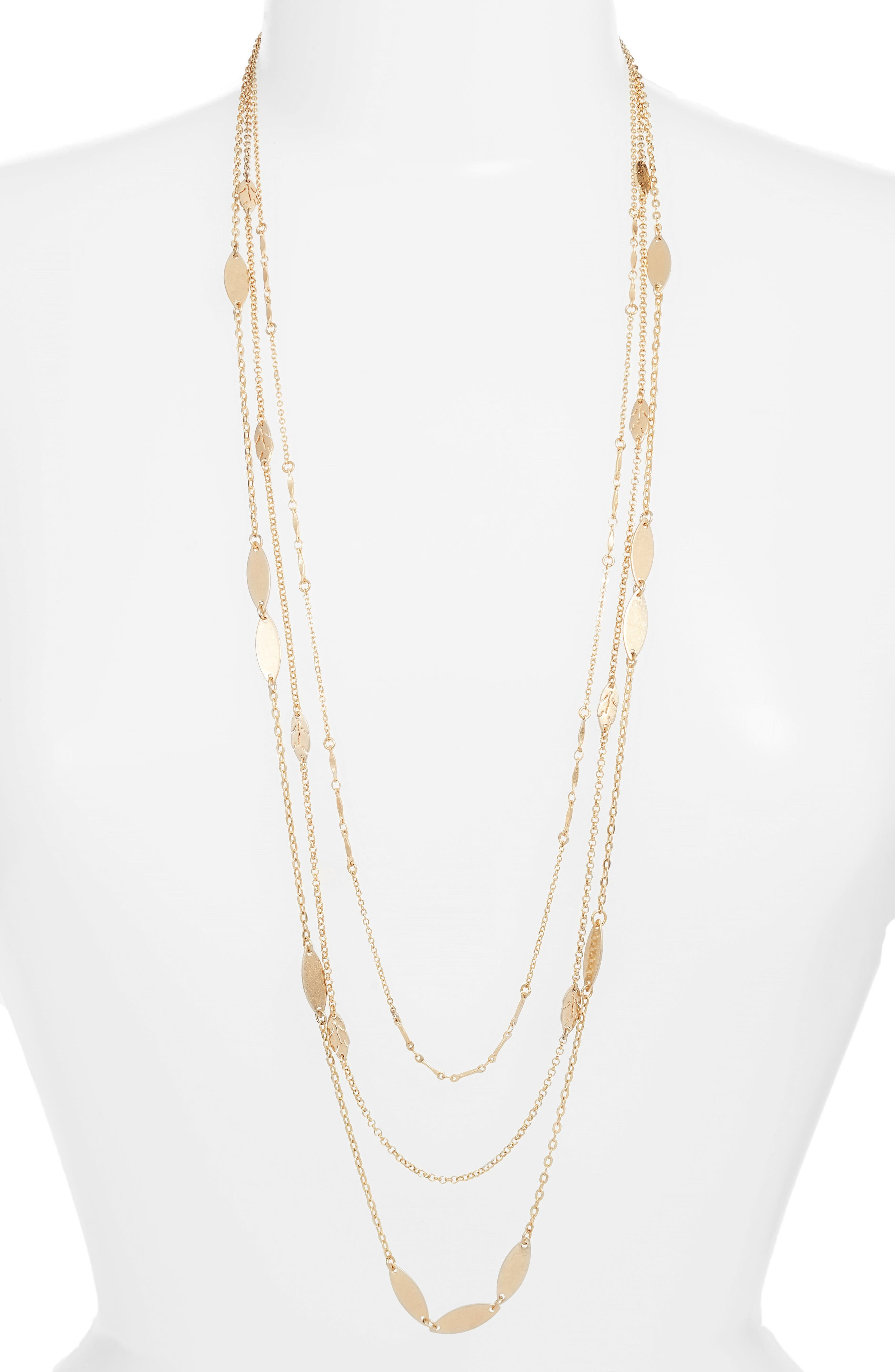 Layered Leaf Station Necklace,                         Main,                         color, 710