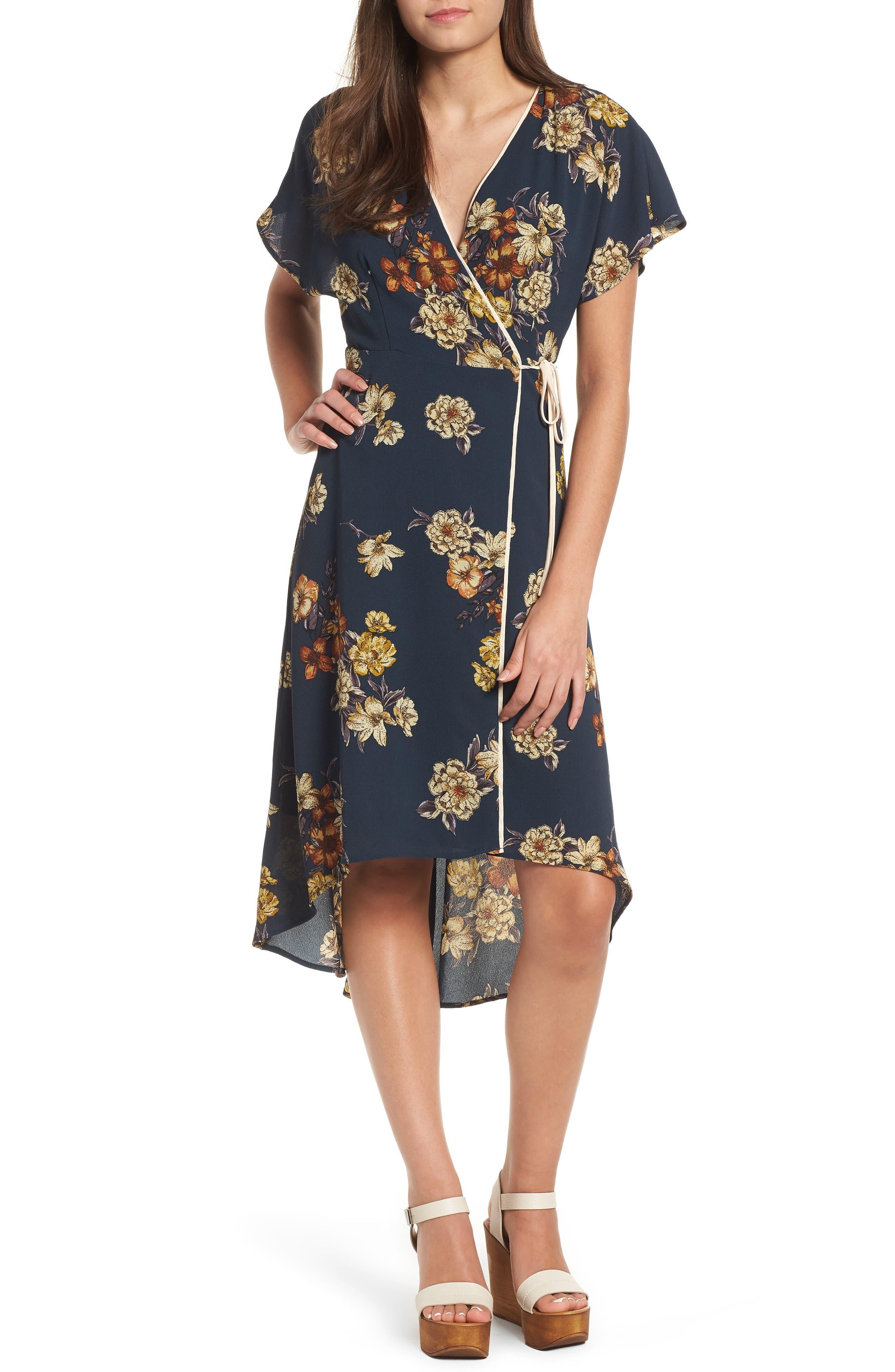 LEITH Floral Wrap Dress, Main, color, 410