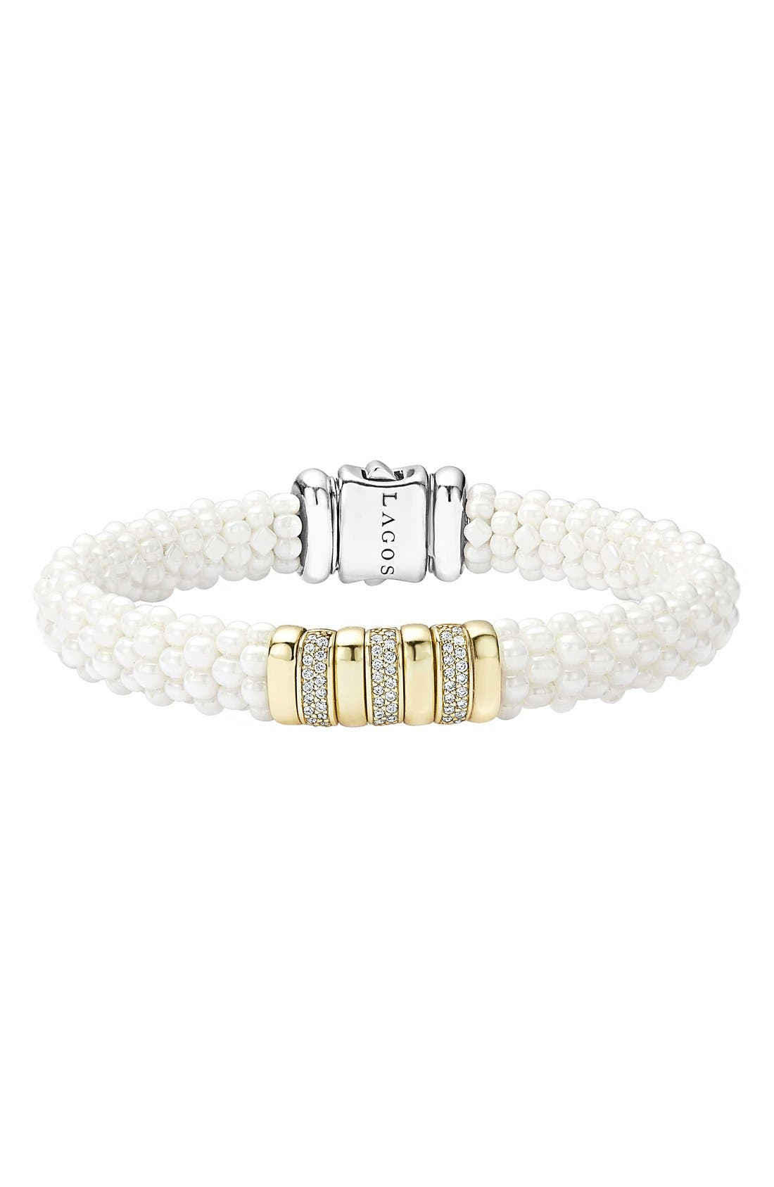 'White Caviar' Triple Pavé Diamond Rope Bracelet,                             Main thumbnail 1, color,                             100