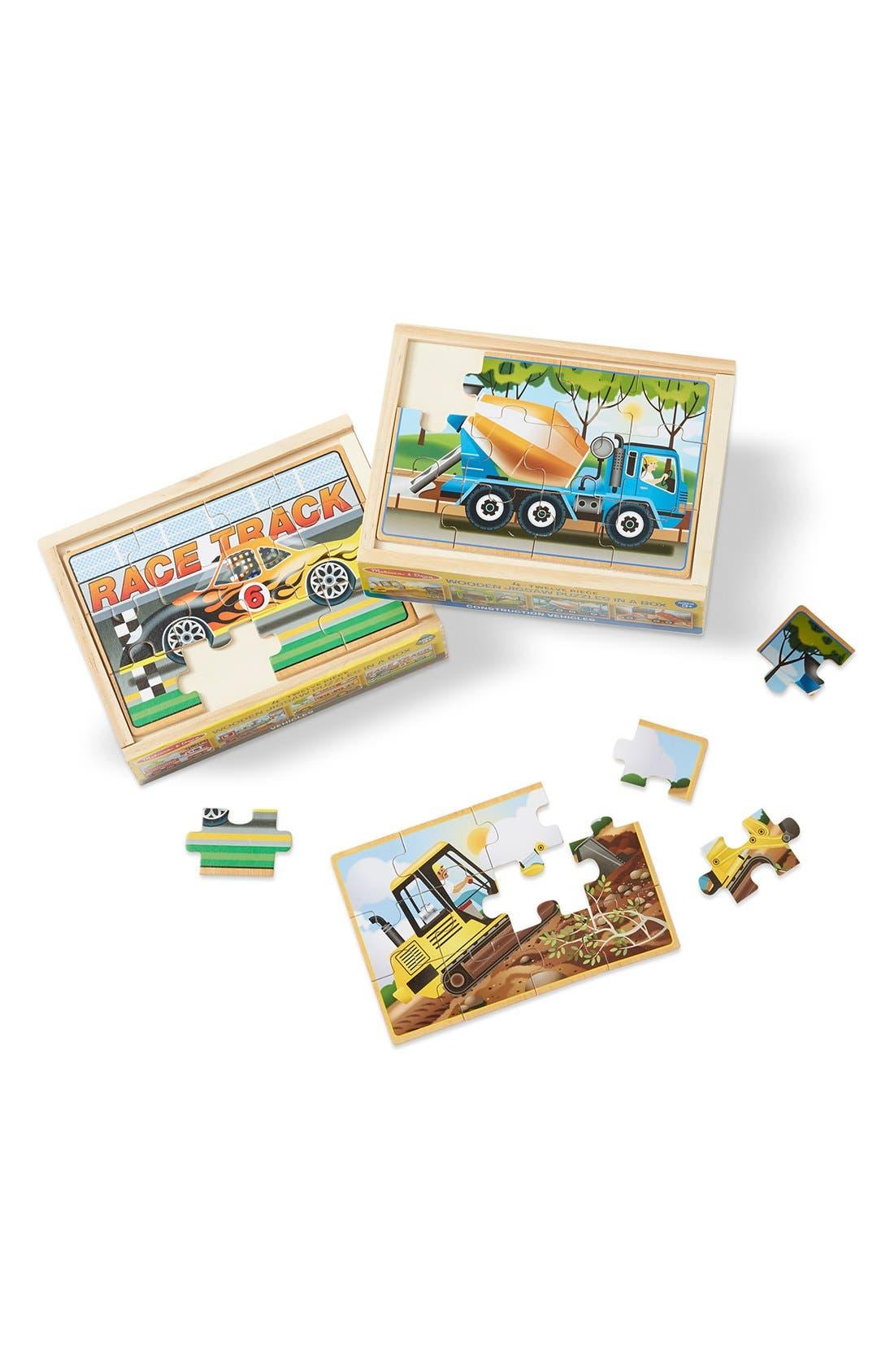 Vehicle & Construction Puzzle Set,                             Main thumbnail 1, color,                             BROWN