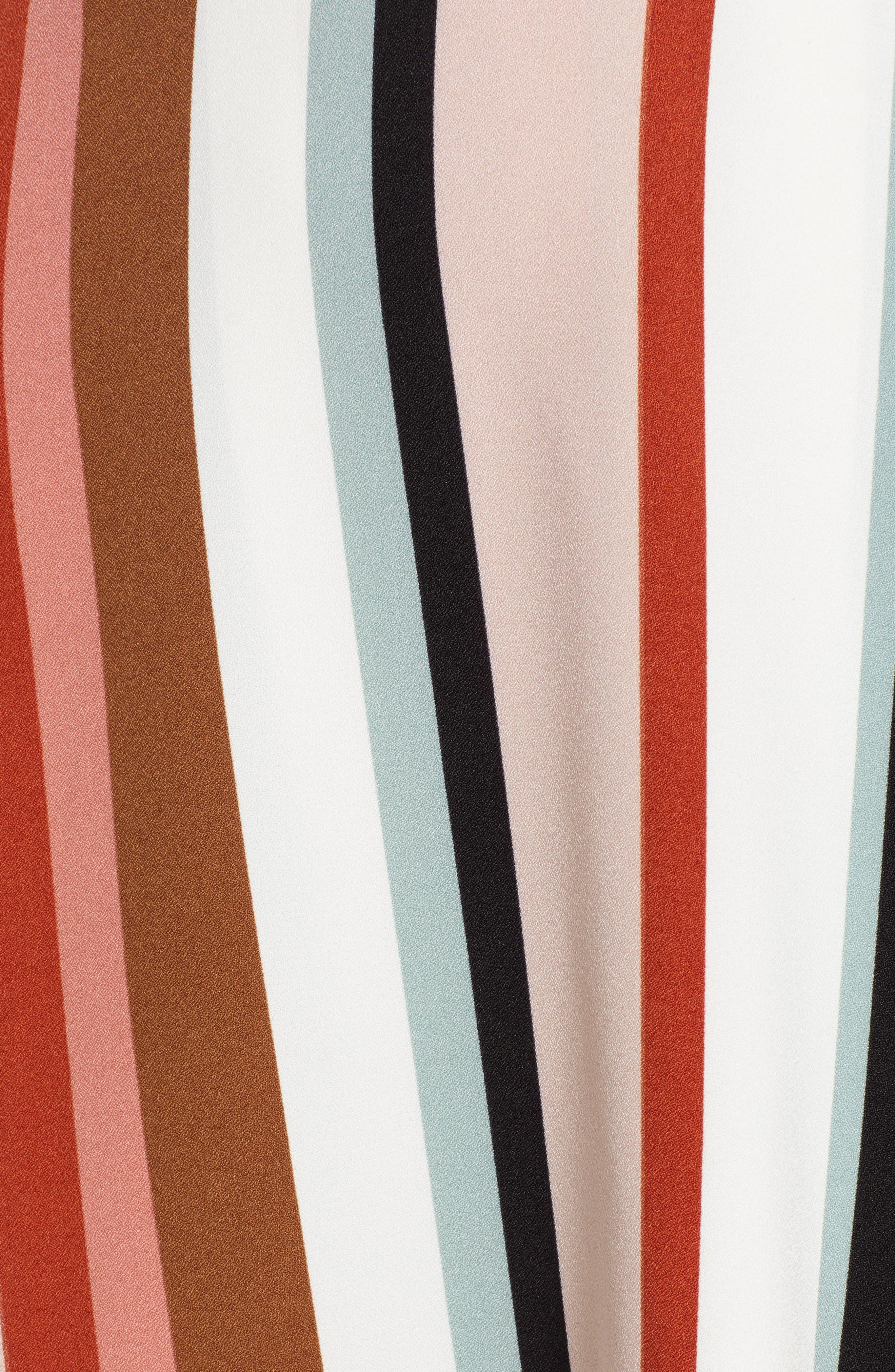 Sharkbite Hem Wrap Dress,                             Alternate thumbnail 6, color,                             IVORY FALL STRIPE