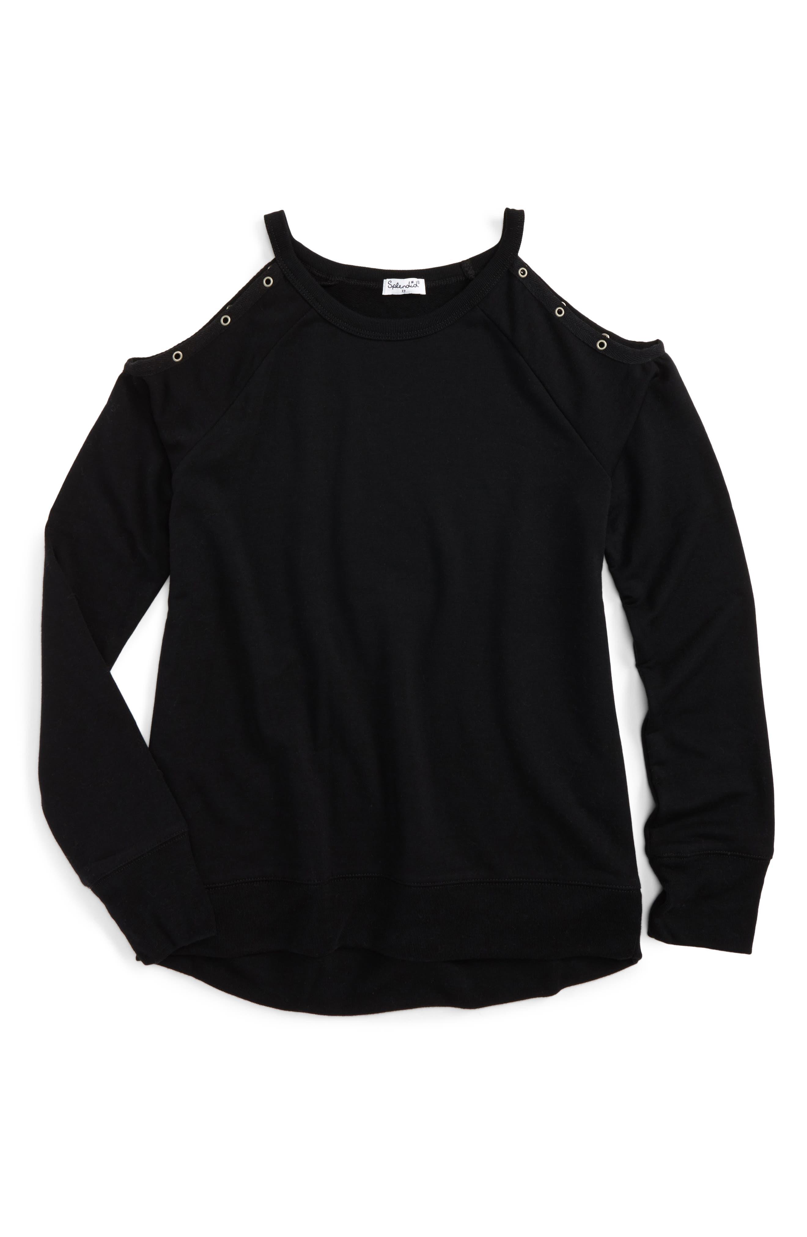 Cold Shoulder Sweatshirt,                             Main thumbnail 1, color,                             001
