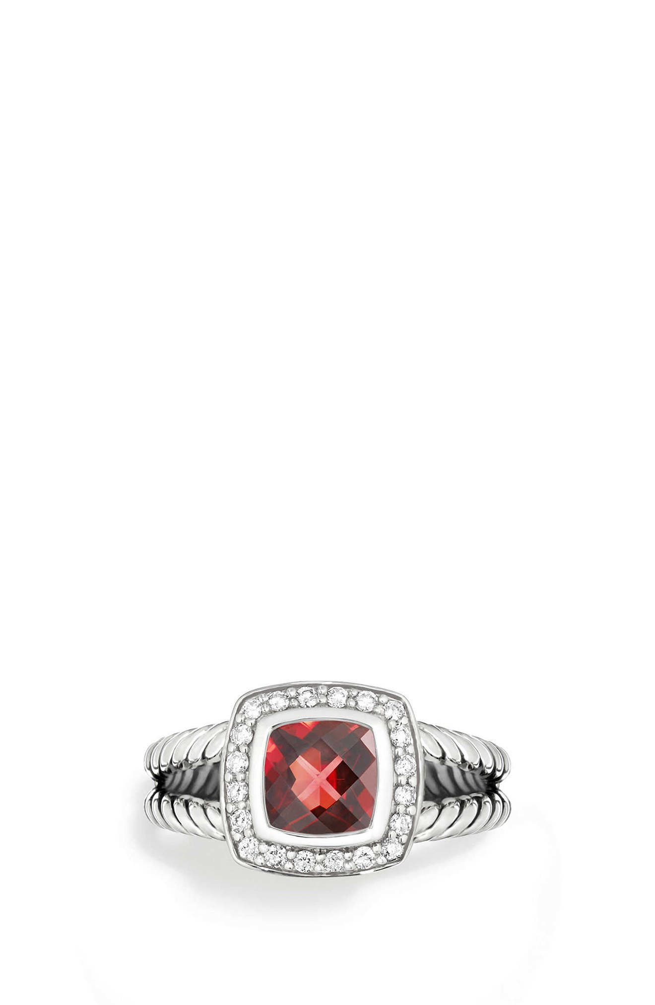 Petite Albion<sup>®</sup> Ring with Diamonds,                         Main,                         color, SILVER/ DIAMOND/ GARNET