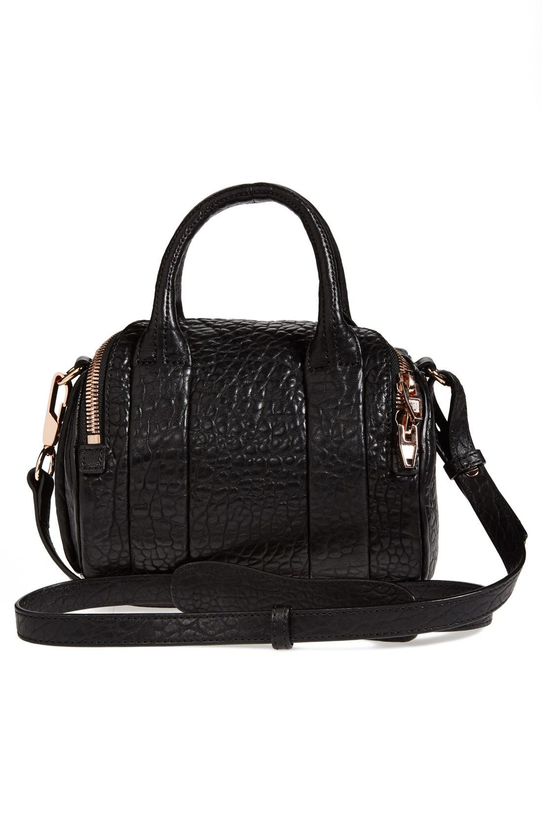 ALEXANDER WANG,                             'Mini Rockie - Rose Gold' Leather Crossbody Satchel,                             Alternate thumbnail 4, color,                             BLACK
