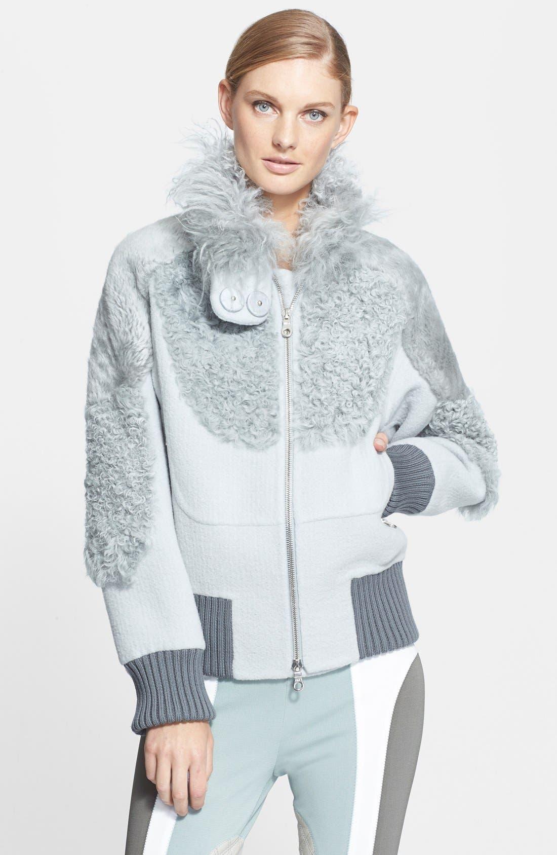 Genuine Kalgan, Shearling & Mongolian Fur Bomber Jacket, Main, color, 020
