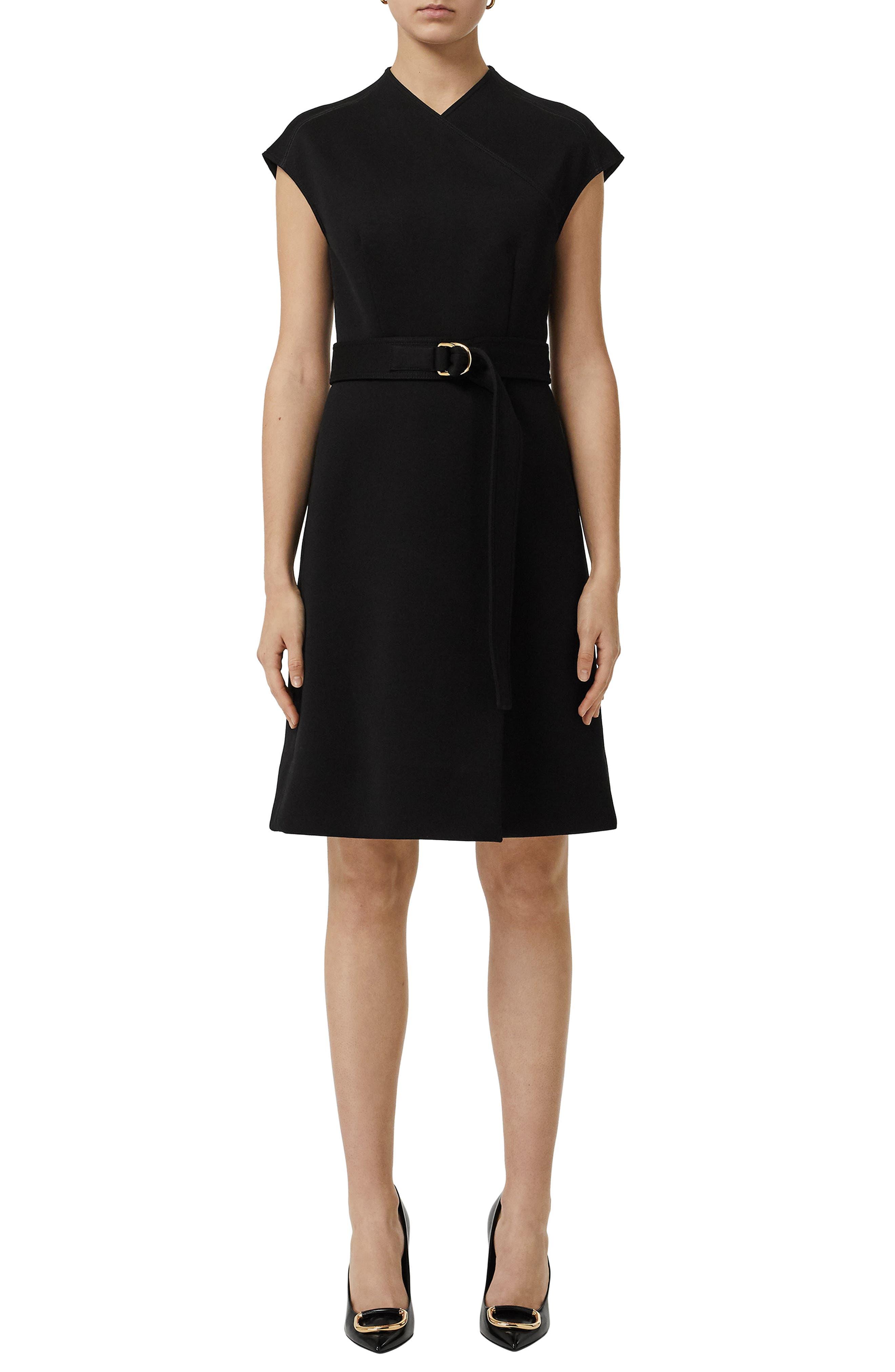 Dulsie D-Ring Detail Bonded Jersey Dress,                             Main thumbnail 1, color,                             BLACK