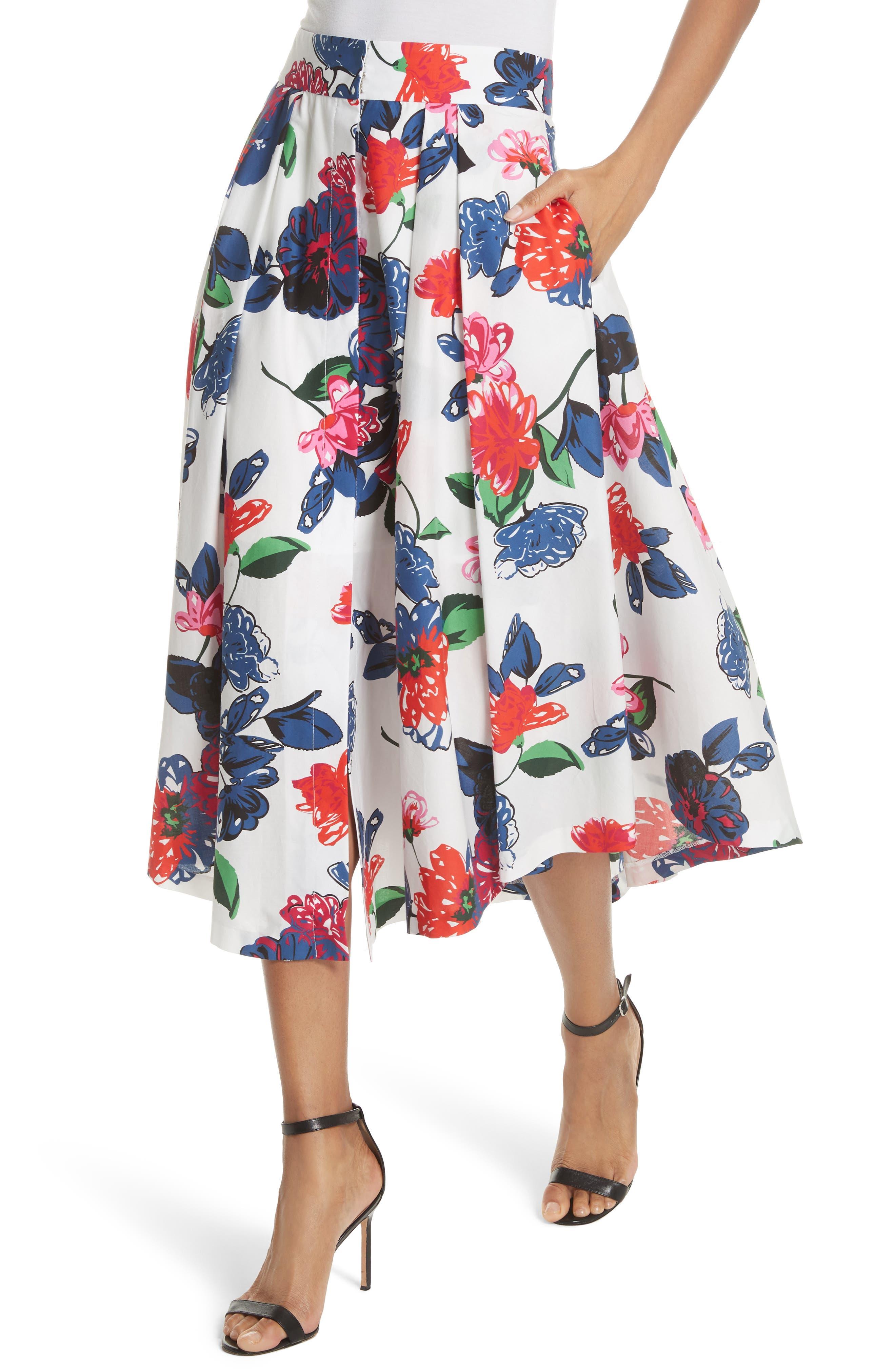 Floral Print Stretch Cotton Skirt,                             Alternate thumbnail 4, color,                             164