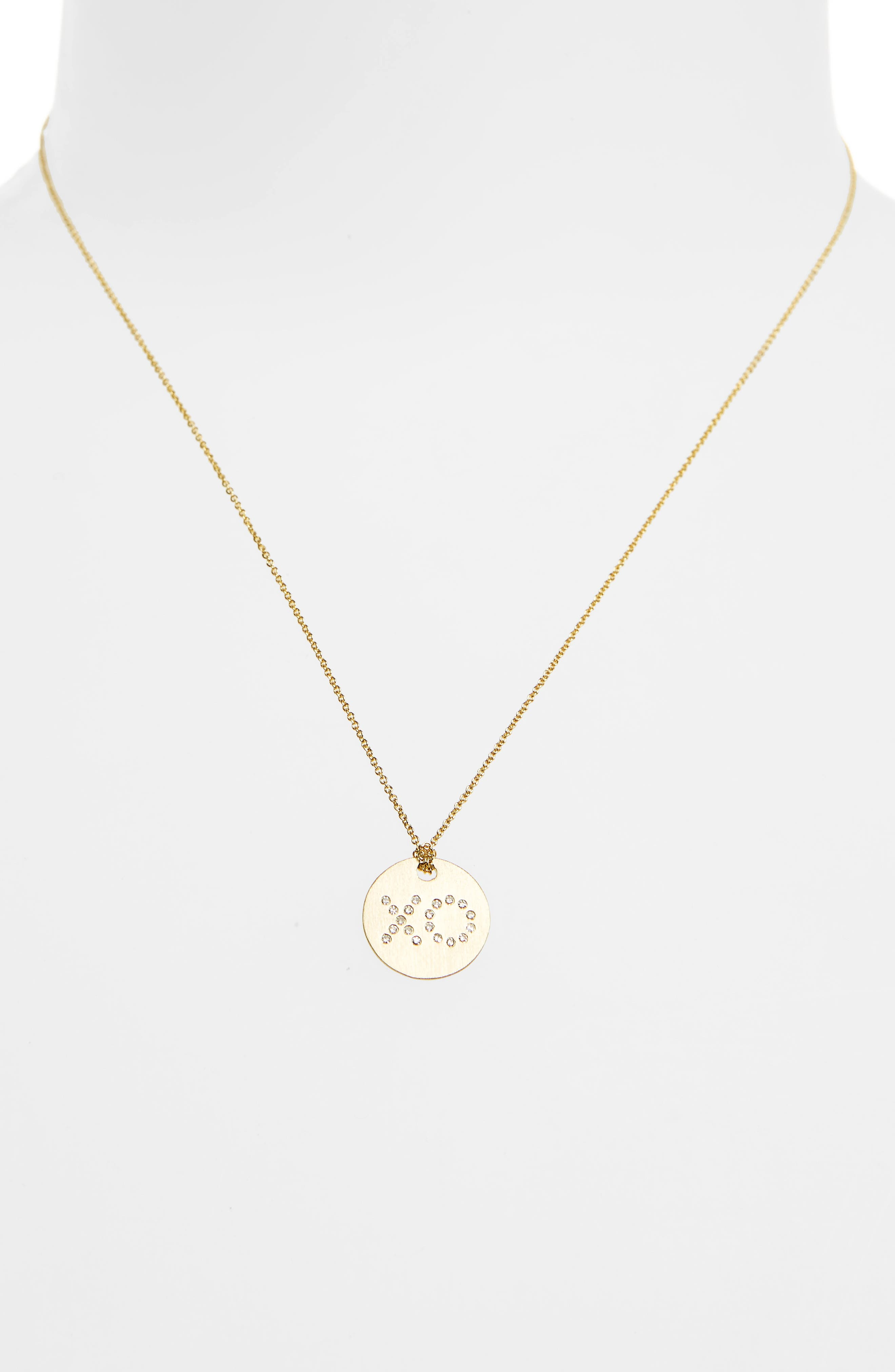 Diamond XO Medallion Necklace,                             Alternate thumbnail 2, color,                             YELLOW GOLD