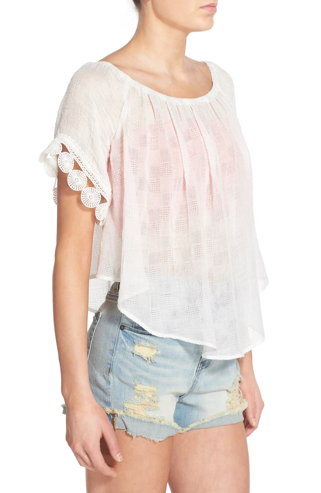 Gauze Off the Shoulder Top,                             Alternate thumbnail 6, color,                             100