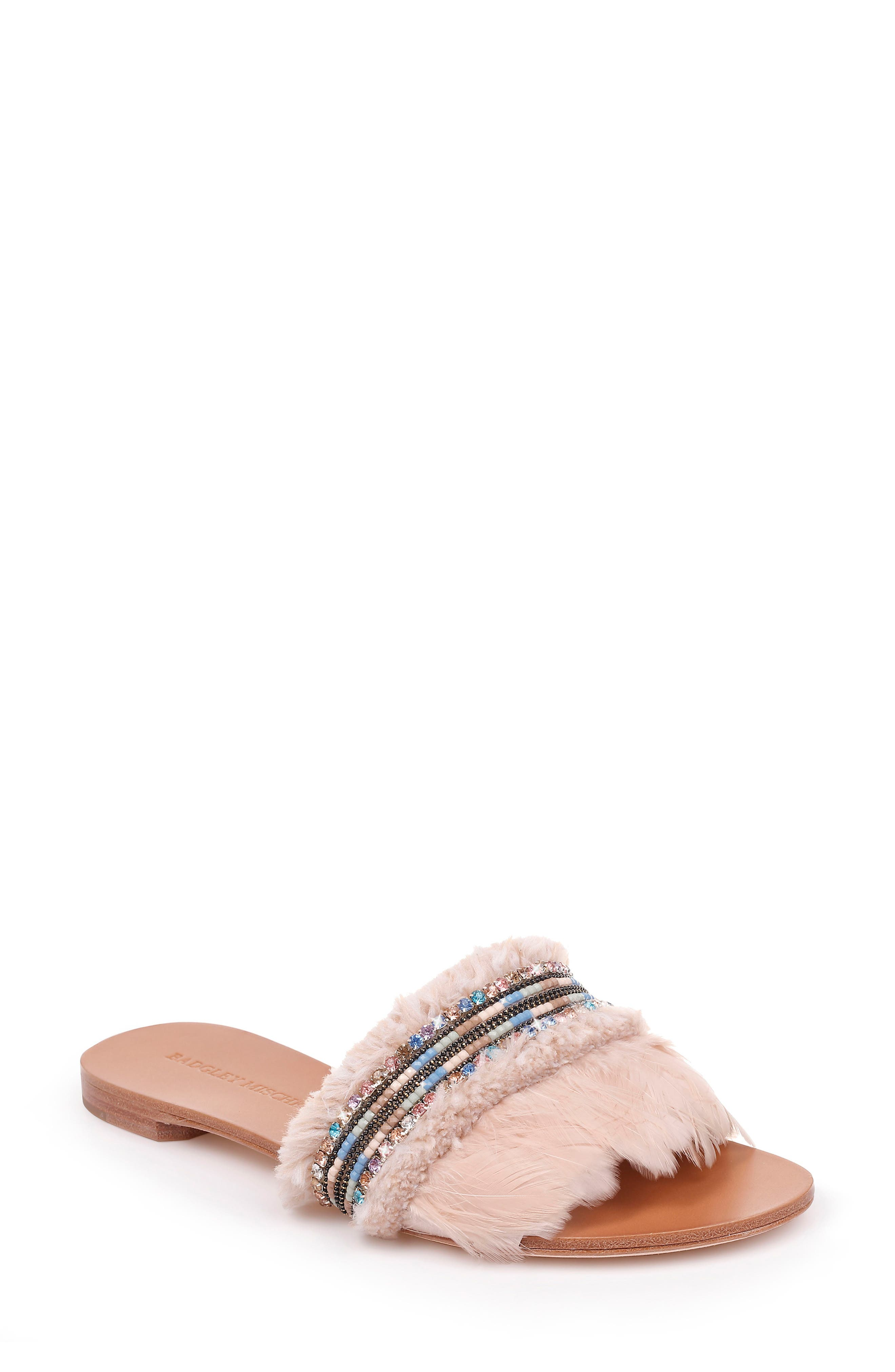 Badgley Mischka Fortune Embellished Slide Sandal- Beige