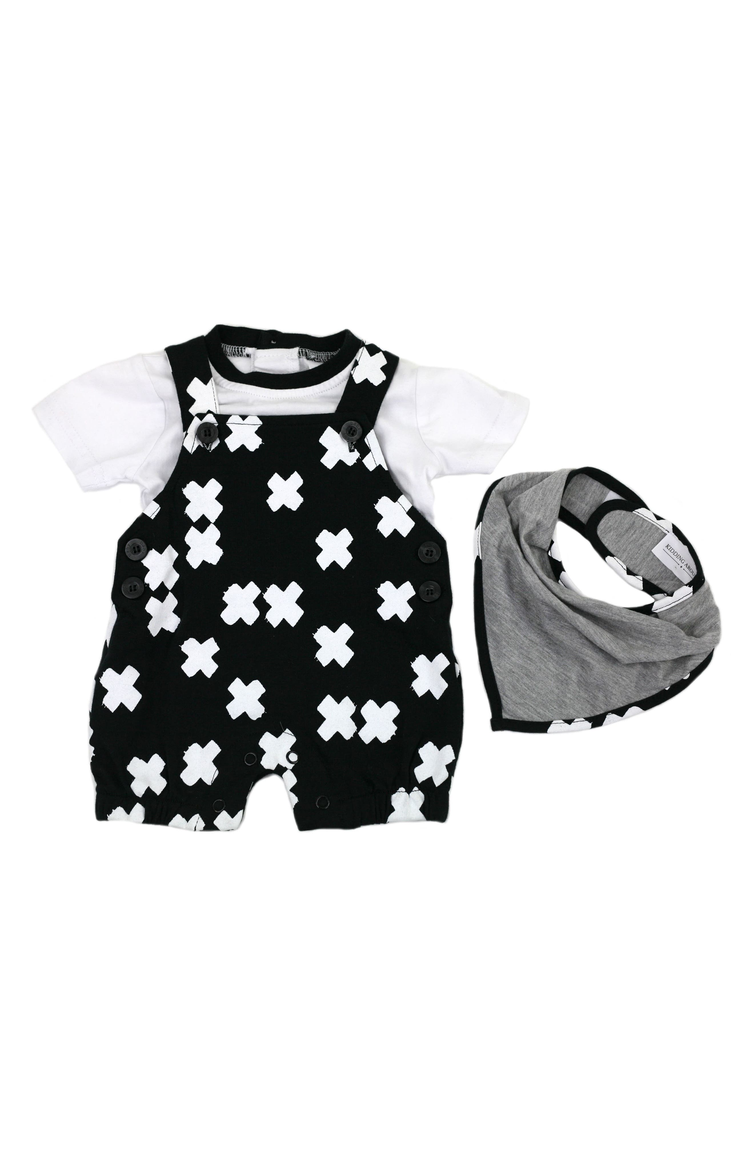 Tee & Short Overalls Set,                             Main thumbnail 1, color,                             001