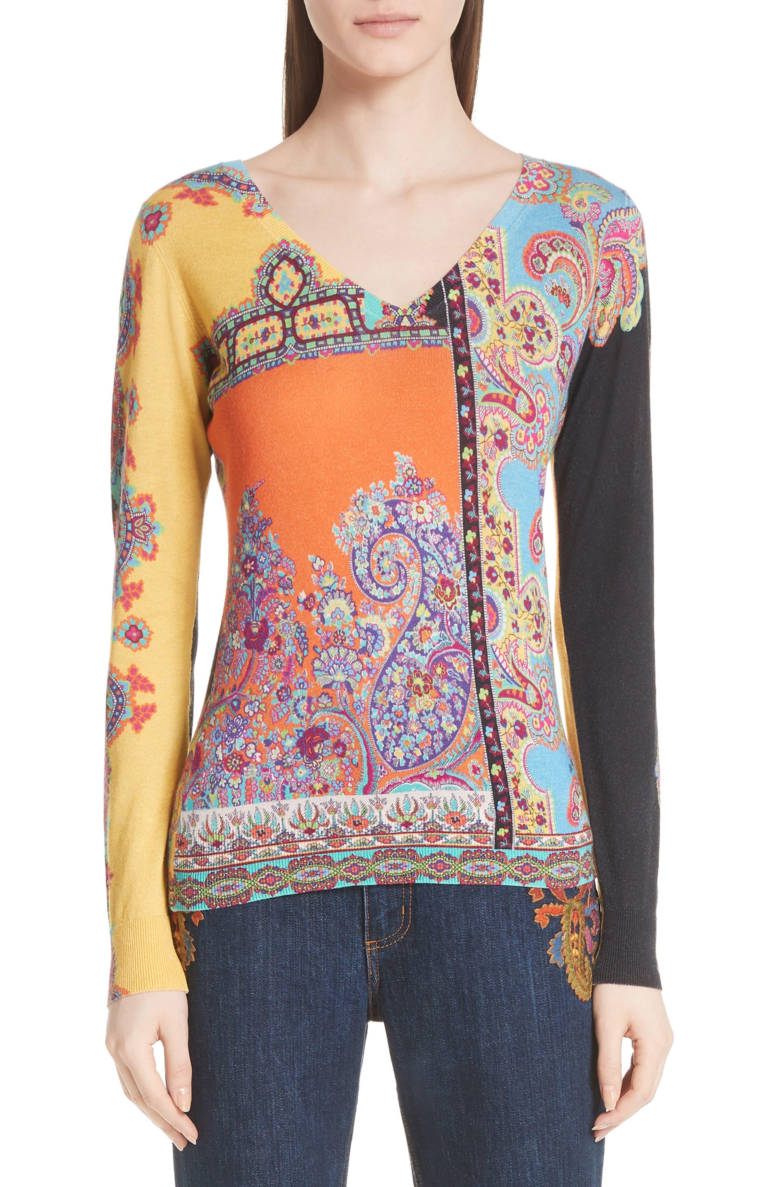 Harlem Paisley Silk & Cashmere Sweater,                         Main,                         color, 800