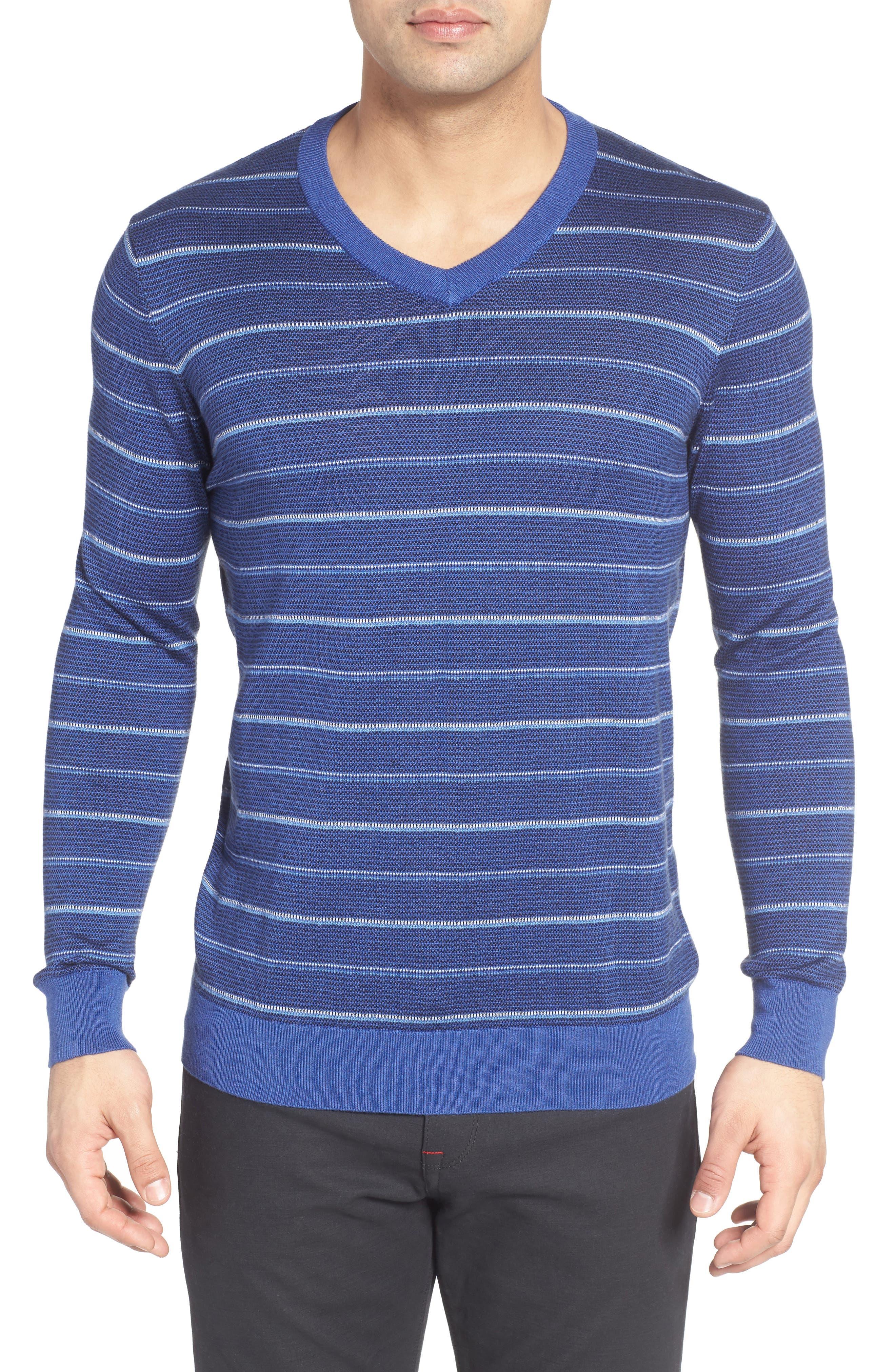 Stripe Silk Blend Sweater,                         Main,                         color, 411