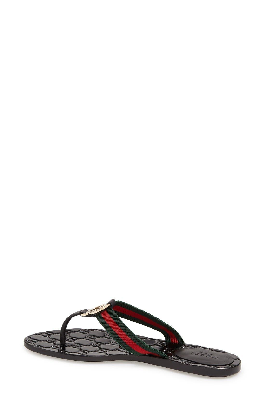 GUCCI,                             'GG' Logo Sandal,                             Alternate thumbnail 3, color,                             NERO