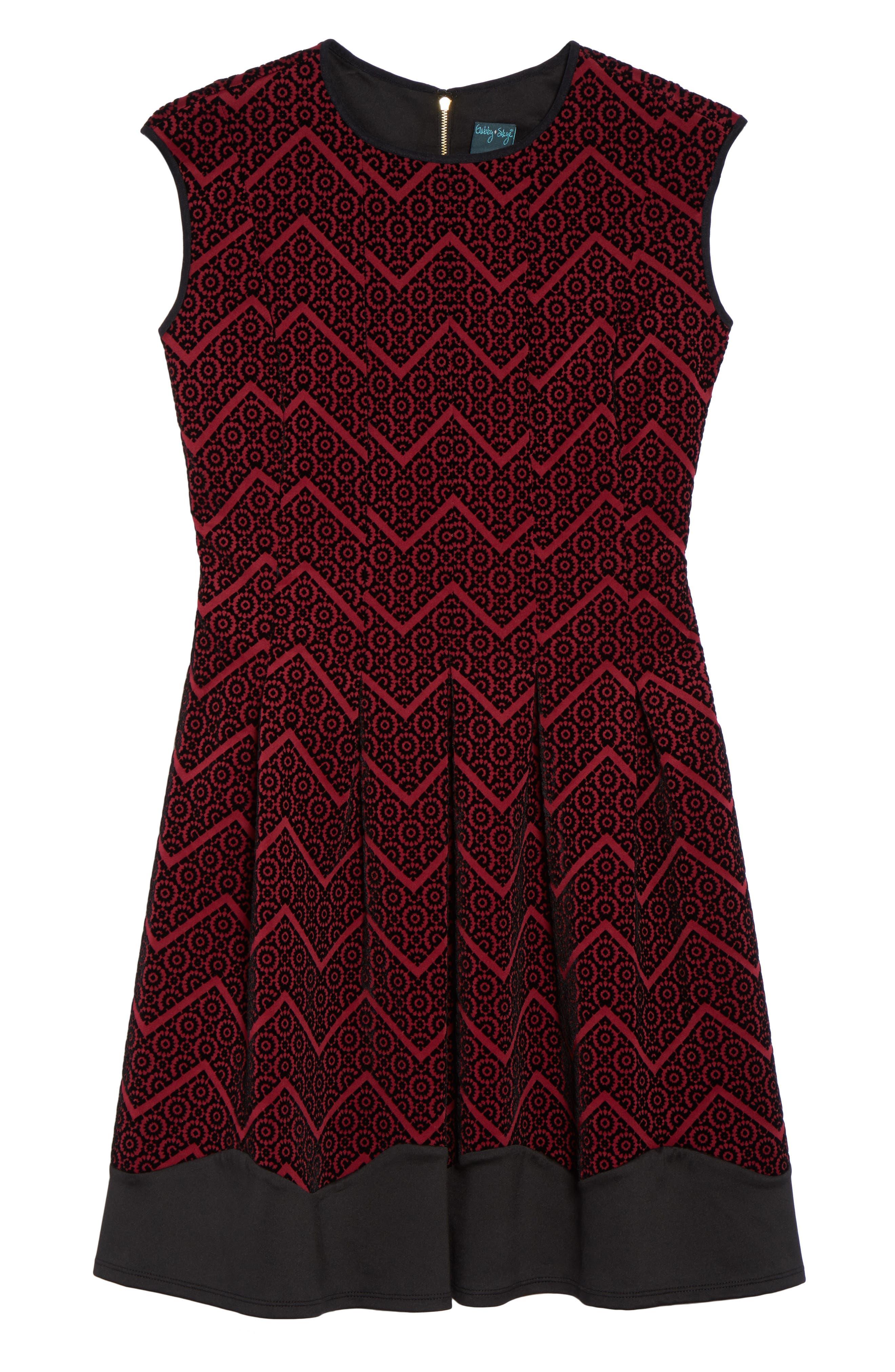 Flocked Fit & Flare Dress,                             Alternate thumbnail 6, color,                             602