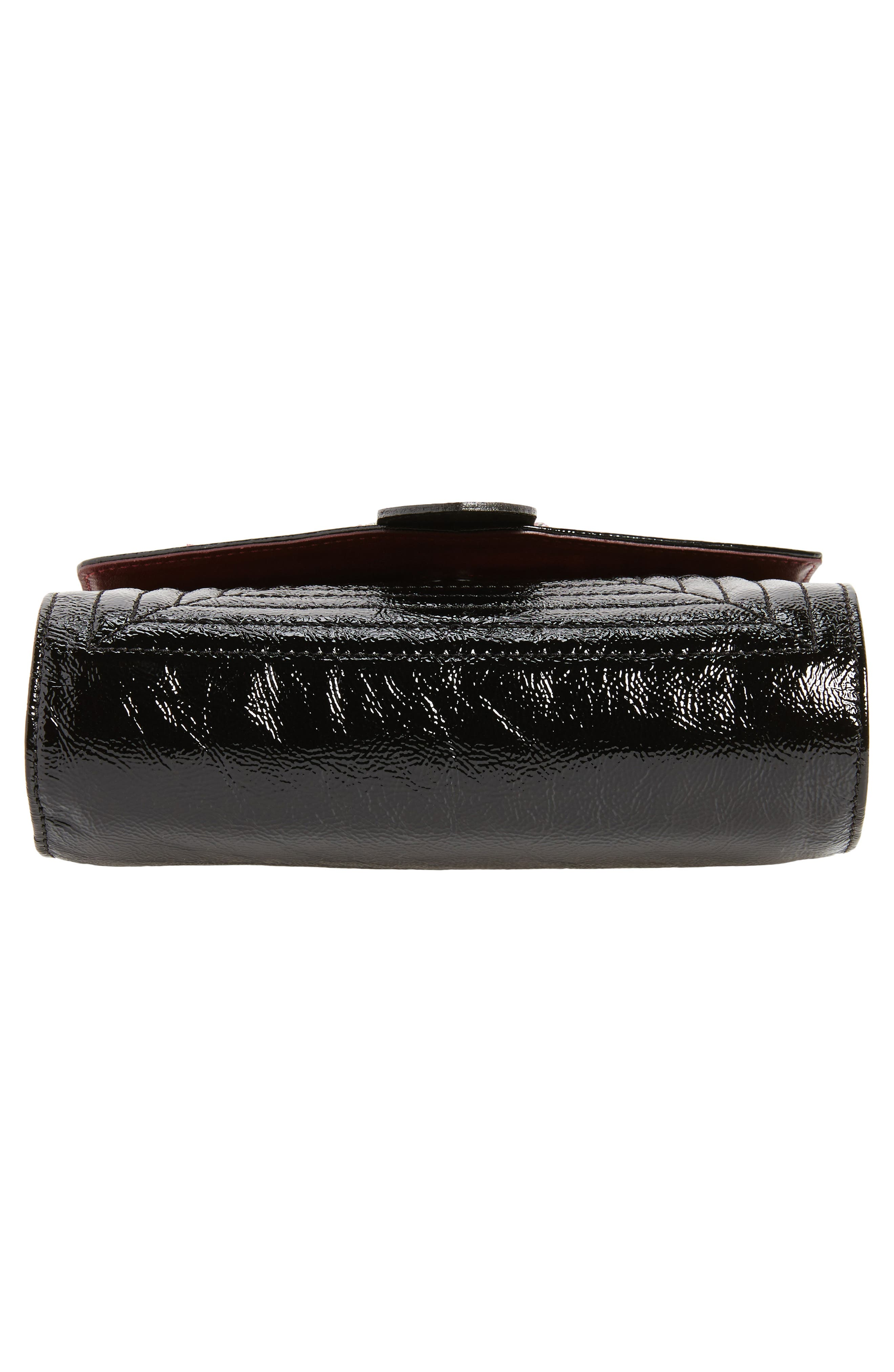 La Baronne Genuine Shearling Trim Leather Clutch,                             Alternate thumbnail 6, color,