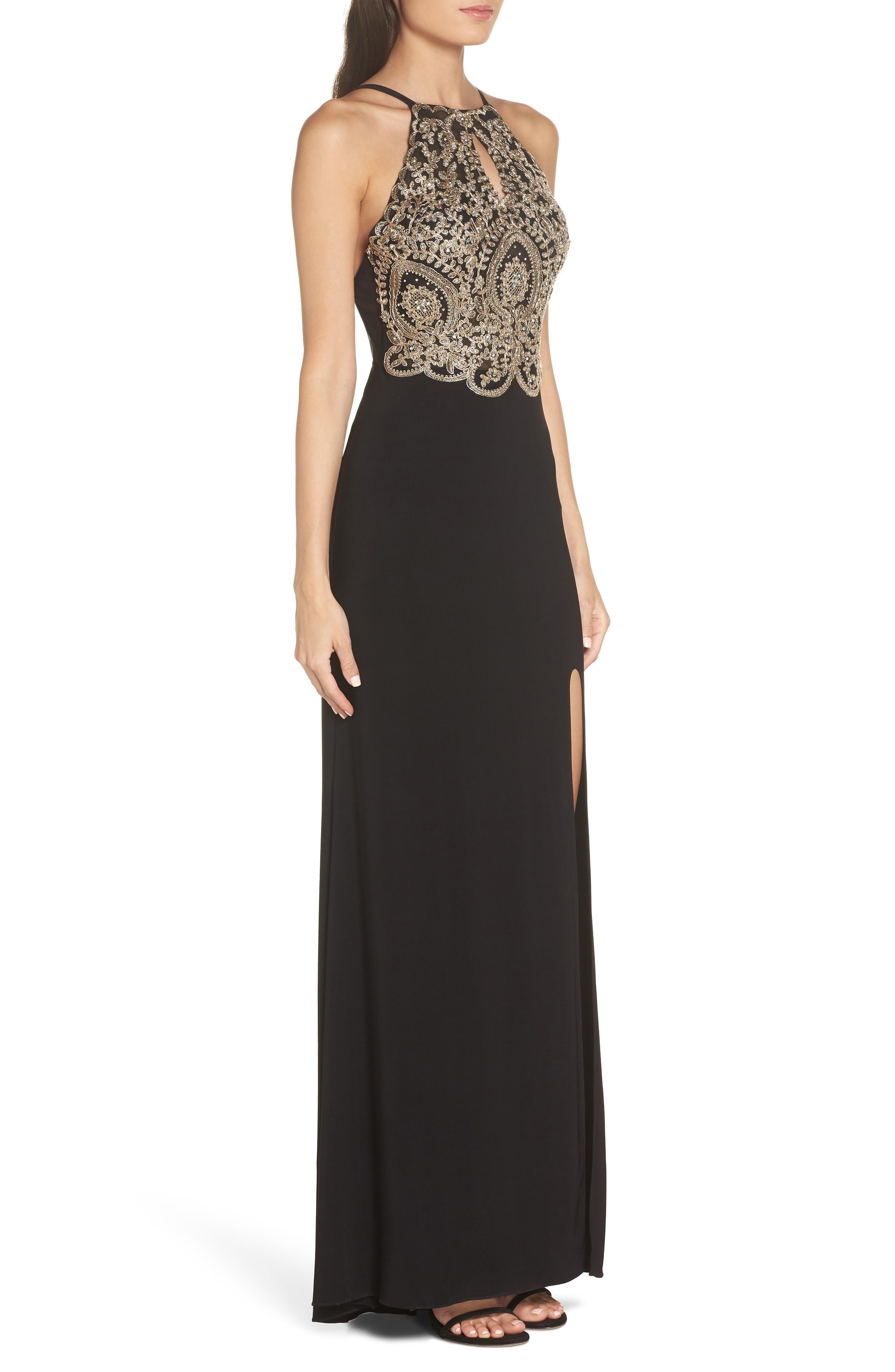 BLONDIE NITES,                             Embellished Appliqué Halter Gown,                             Alternate thumbnail 3, color,                             BLACK/ GOLD