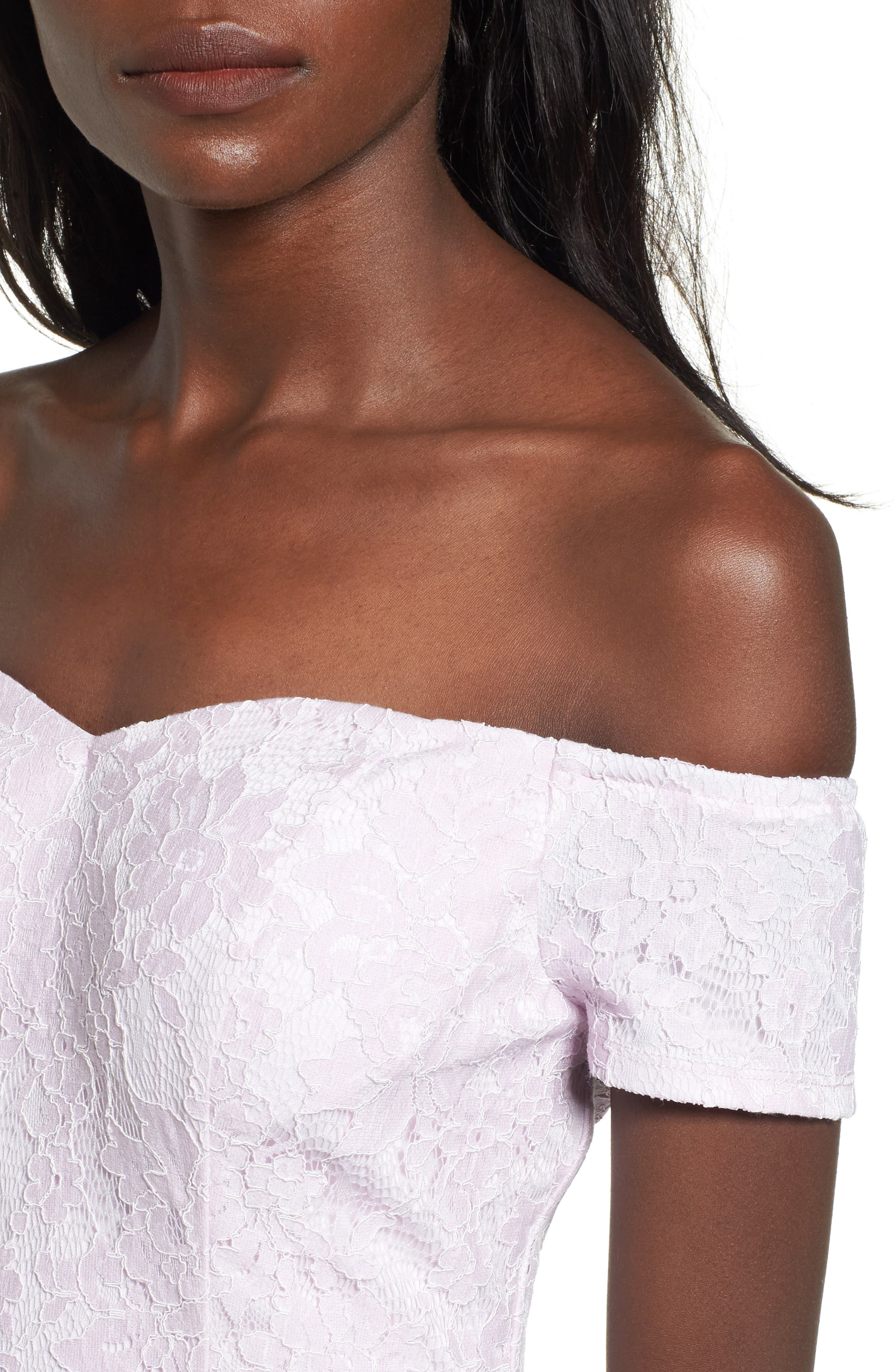 Lace Off the Shoulder Fit & Flare Dress,                             Alternate thumbnail 23, color,