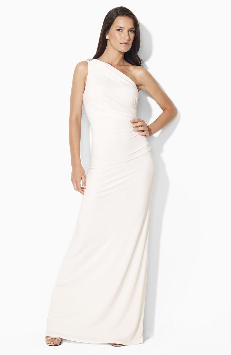 Lauren by Ralph Lauren \'Chana\' One Shoulder Jersey Gown | Nordstrom