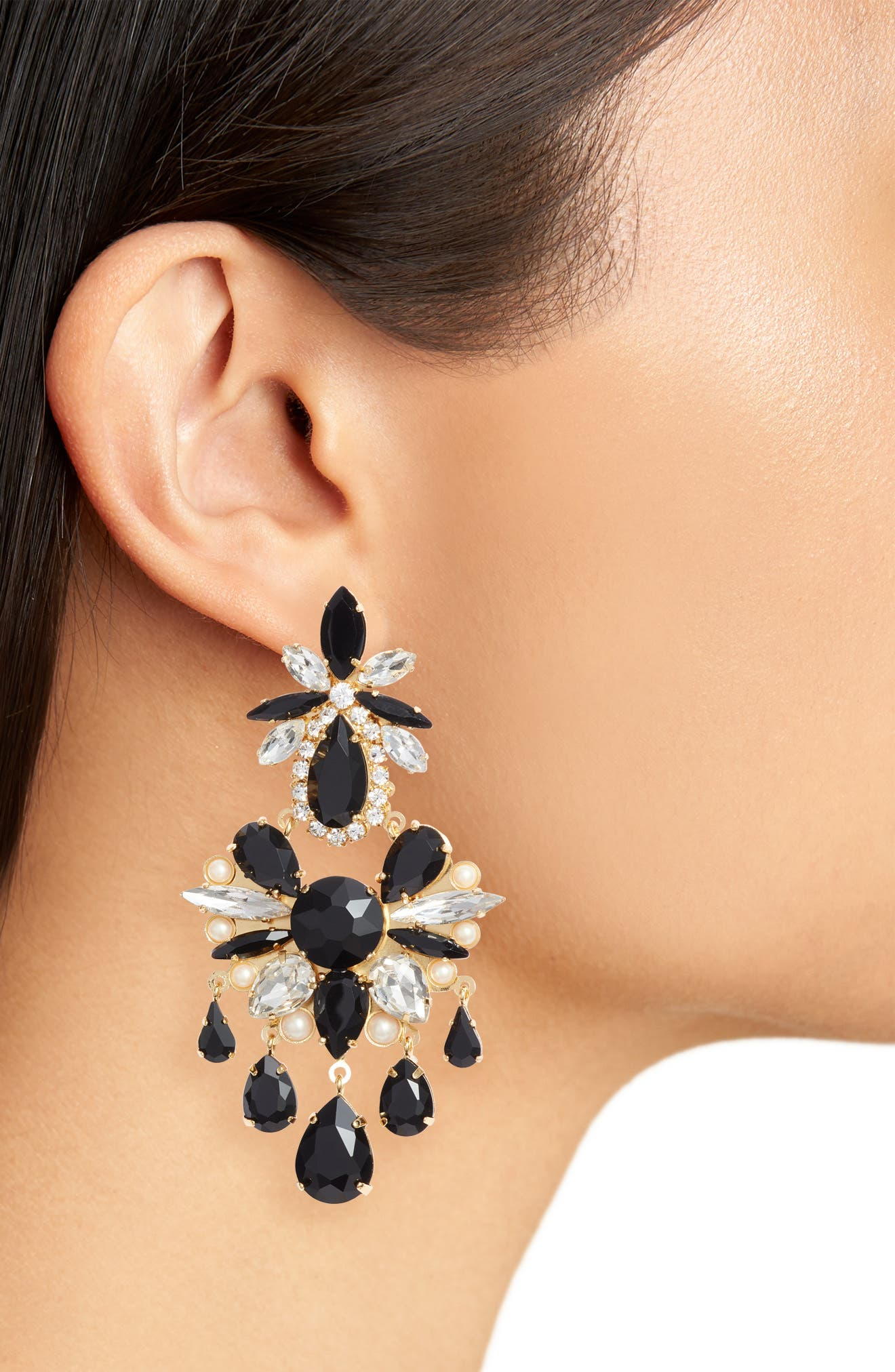 crystal chandelier earrings,                             Alternate thumbnail 2, color,                             BLACK MULTI
