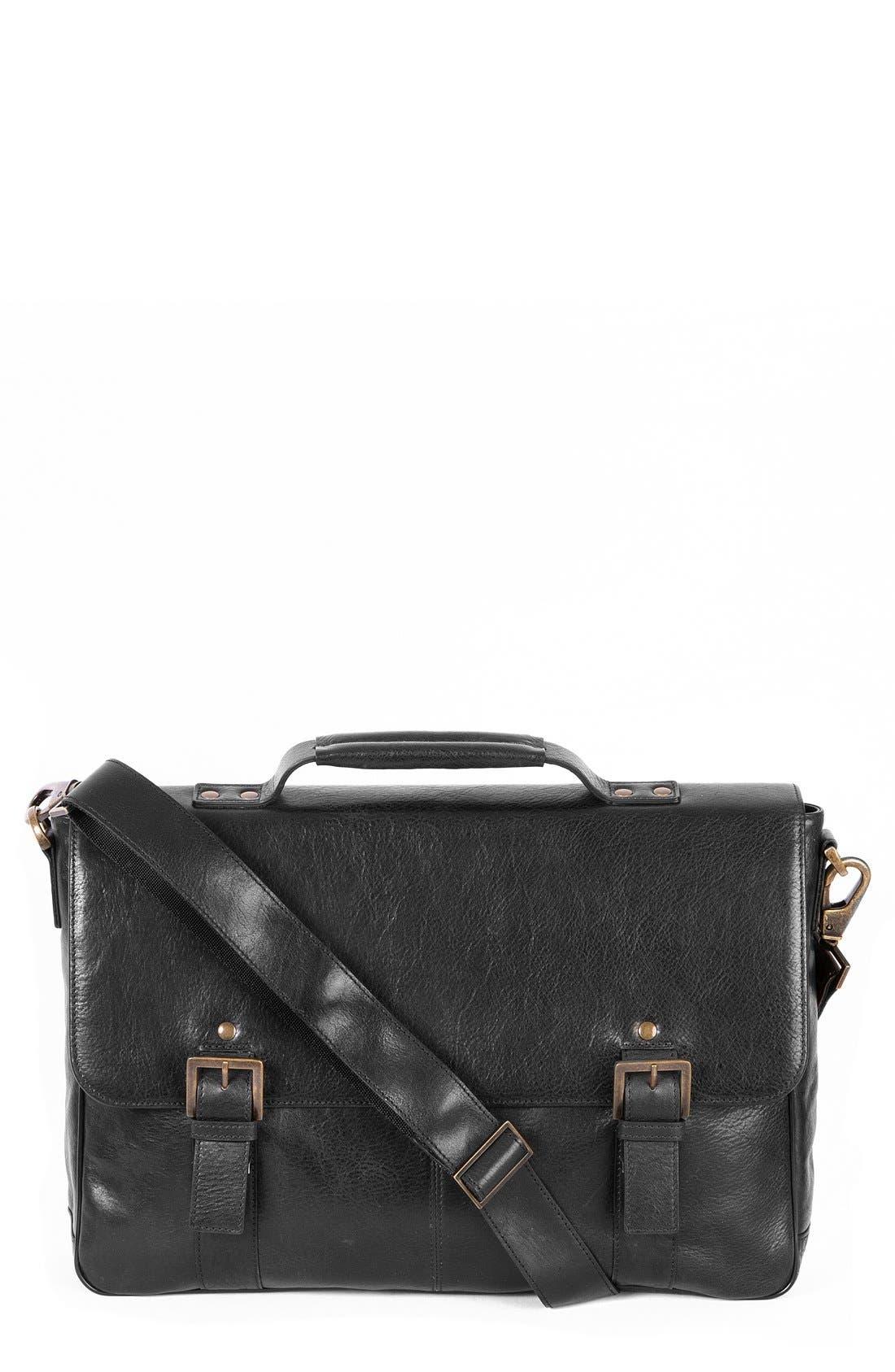 'Becker' Leather Messenger Bag,                         Main,                         color, BLACK W/ KHAKI