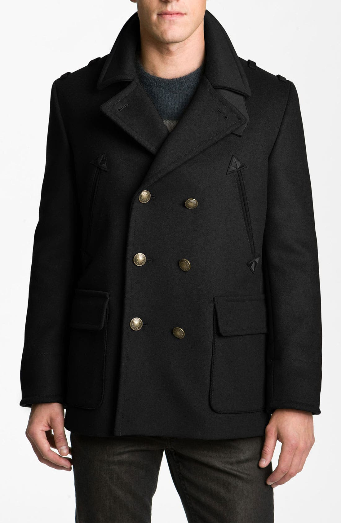 'Leo' Double Breasted Peacoat, Main, color, 001