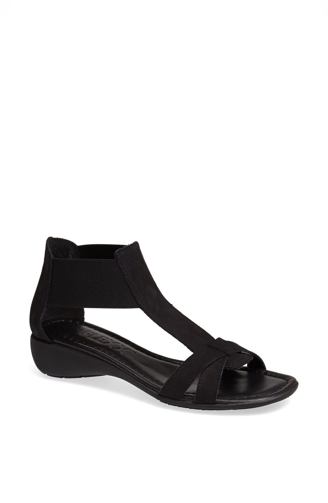 'Band Together' Sandal,                         Main,                         color, BLACK NUBUCK
