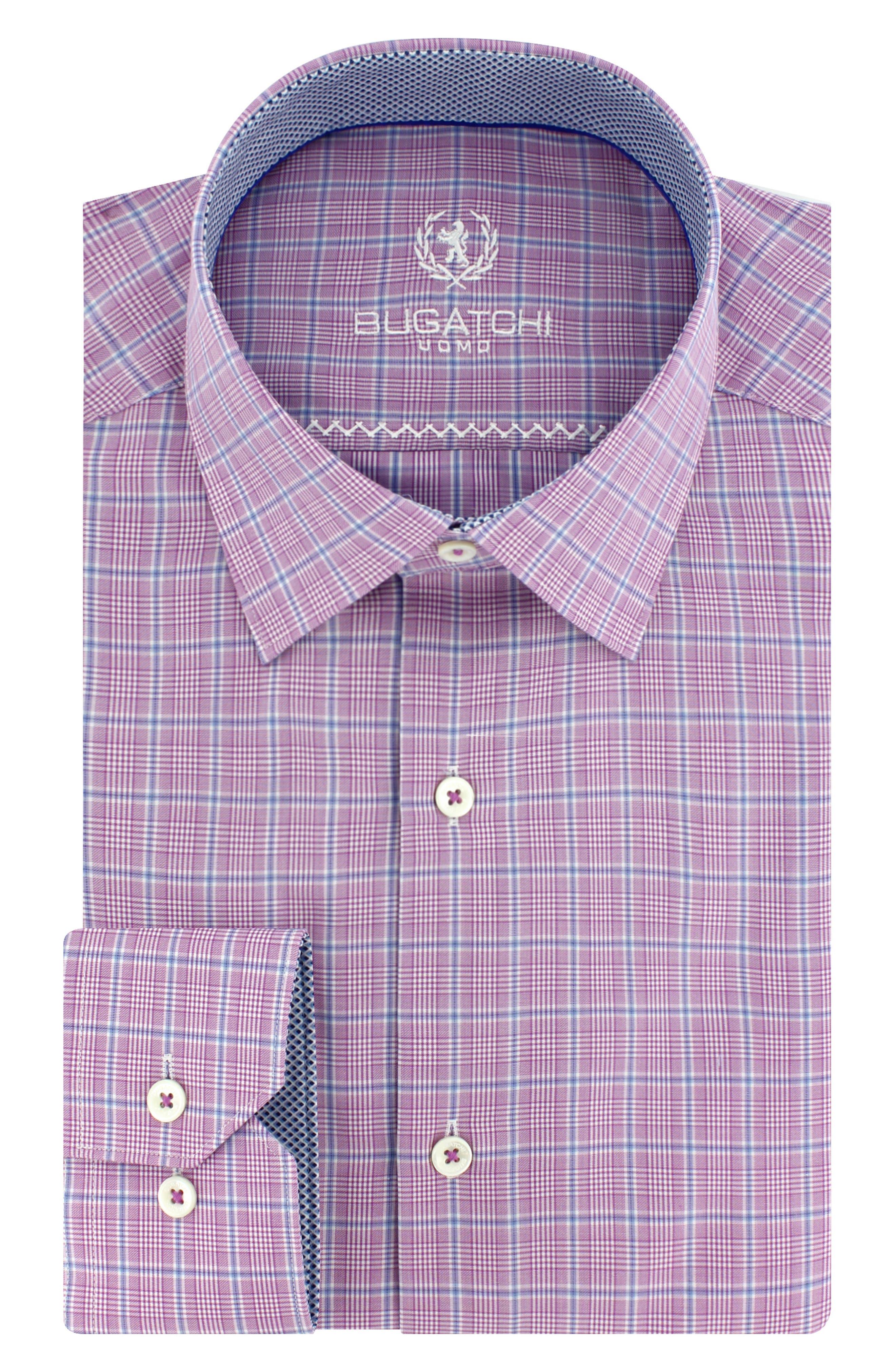 Trim Fit Plaid Dress Shirt,                             Main thumbnail 2, color,