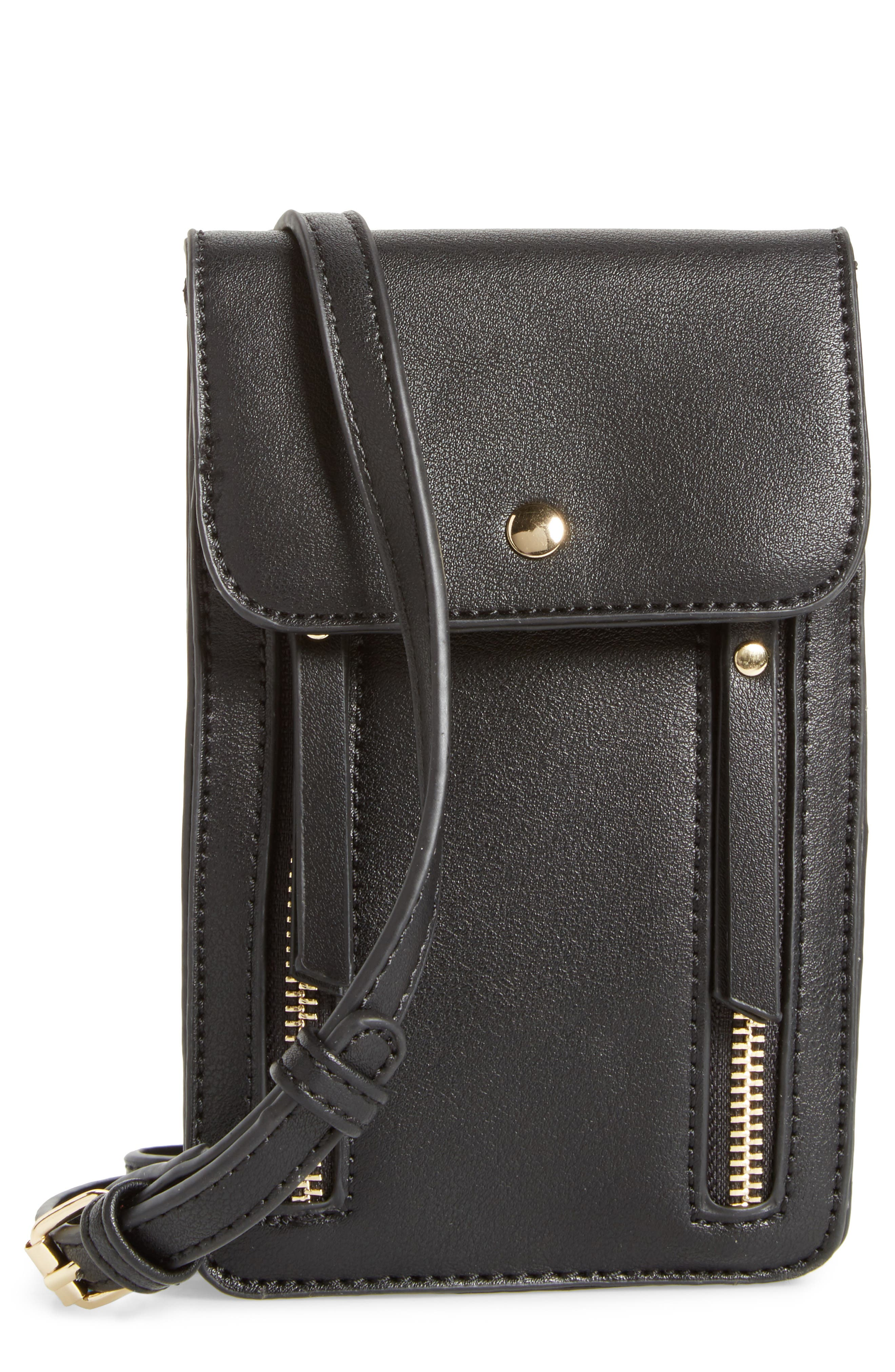 Zipper Phone Crossbody Bag,                             Main thumbnail 1, color,                             001