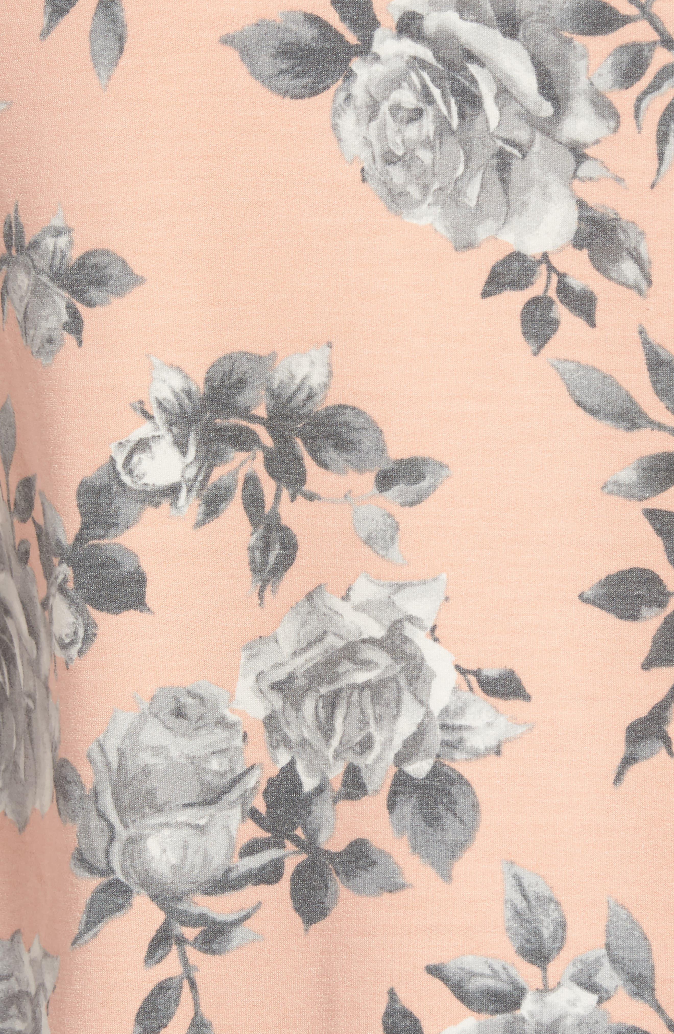 Floral Print Balloon Sleeve Sweatshirt,                             Alternate thumbnail 19, color,