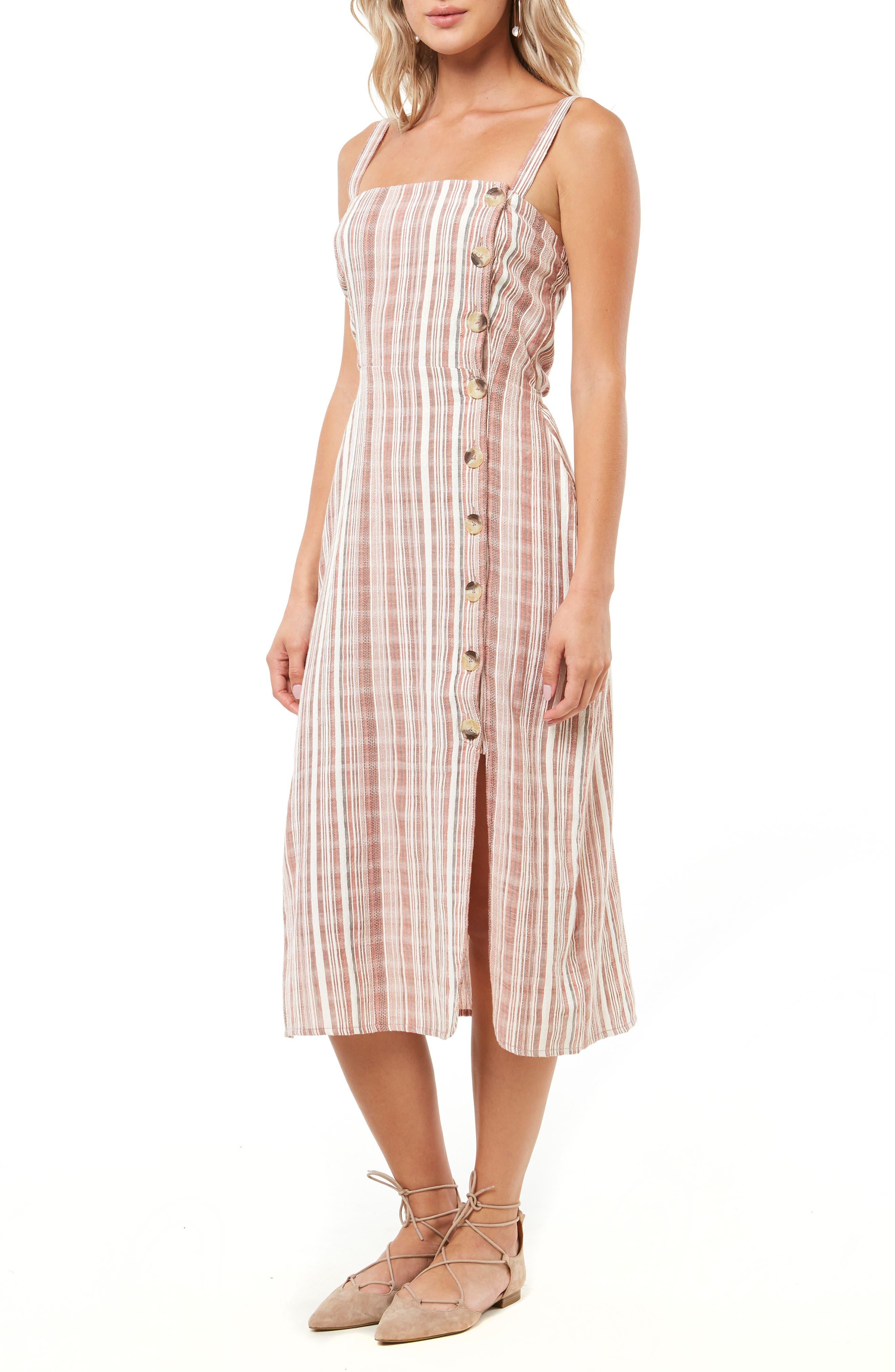 "Amalfi Stripe Woven Midi Dress40"",                             Alternate thumbnail 3, color,                             ETRUSCAN RED"