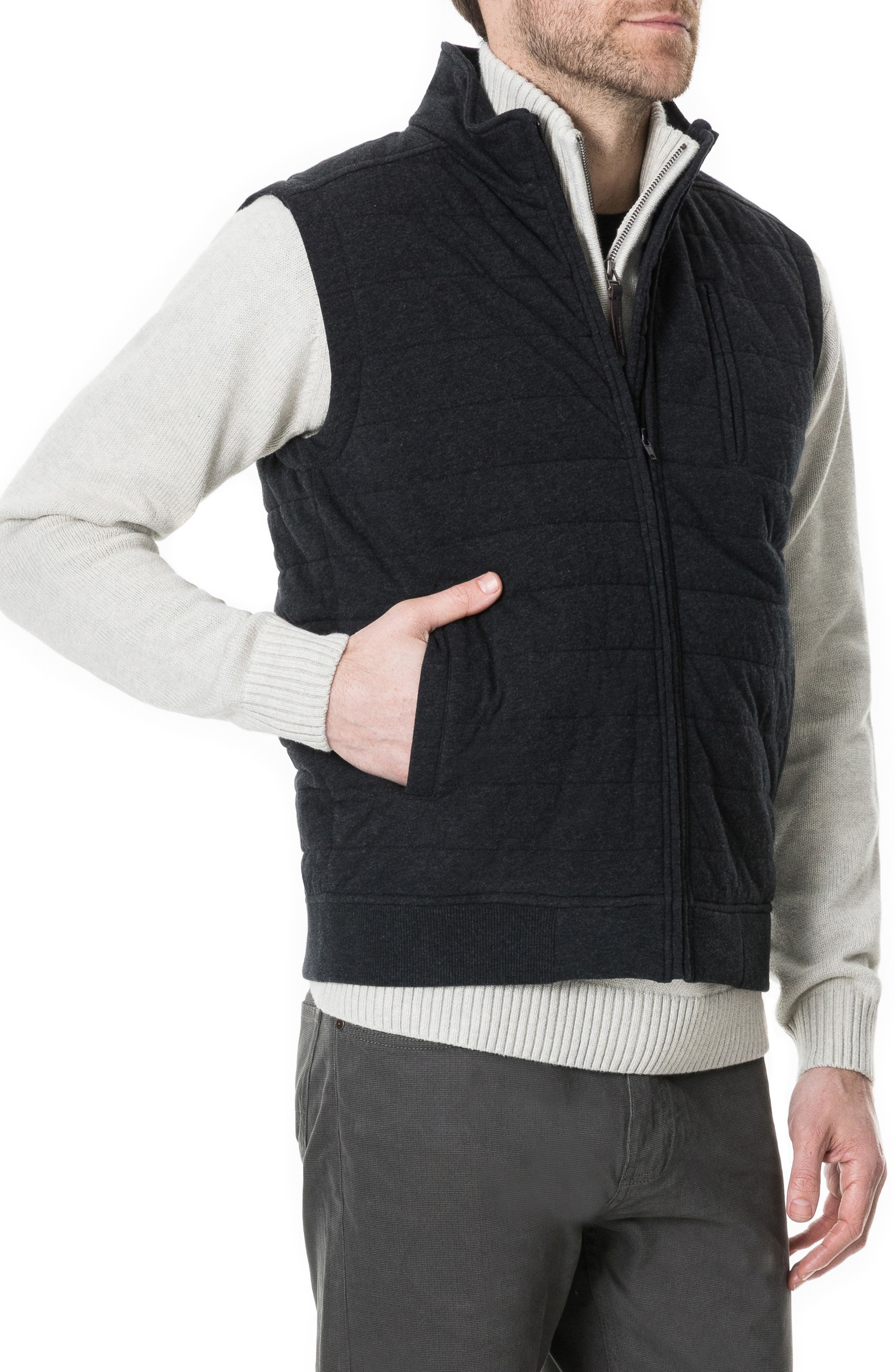 Gould Road Quilted Cotton Flannel Vest,                             Alternate thumbnail 3, color,                             020