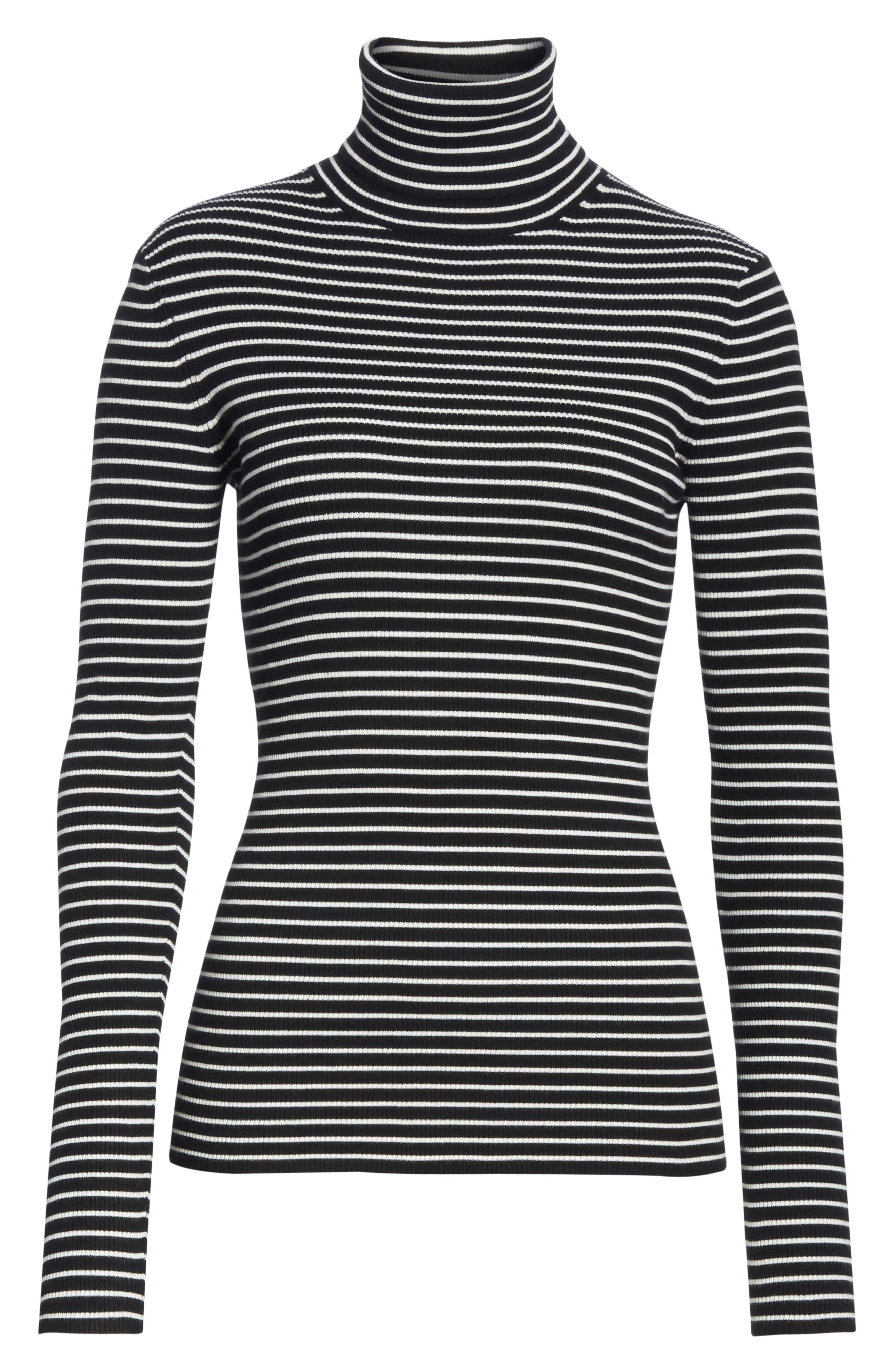 Fine Line Stripe Turtleneck,                             Alternate thumbnail 6, color,                             BLACK AND WHITE STRIPES