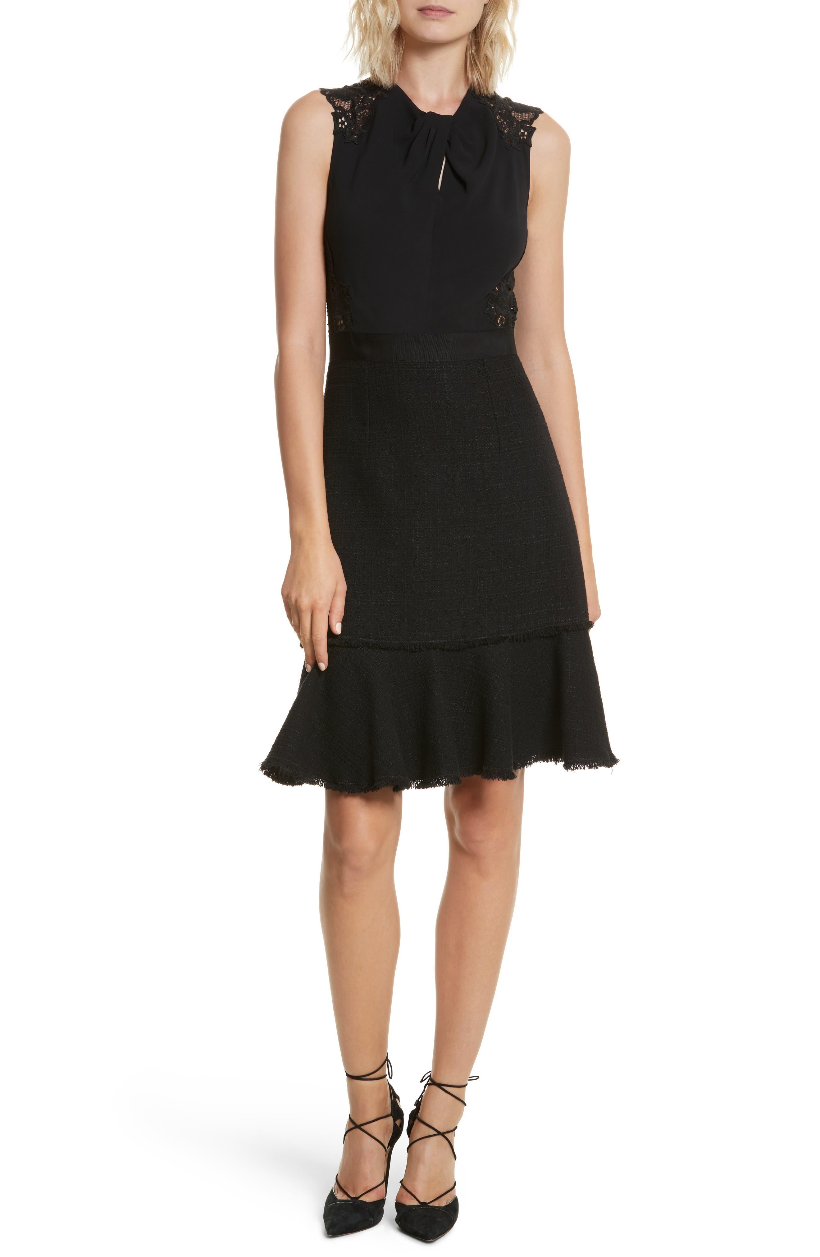 Lace Back Crepe & Tweed Dress,                             Main thumbnail 1, color,