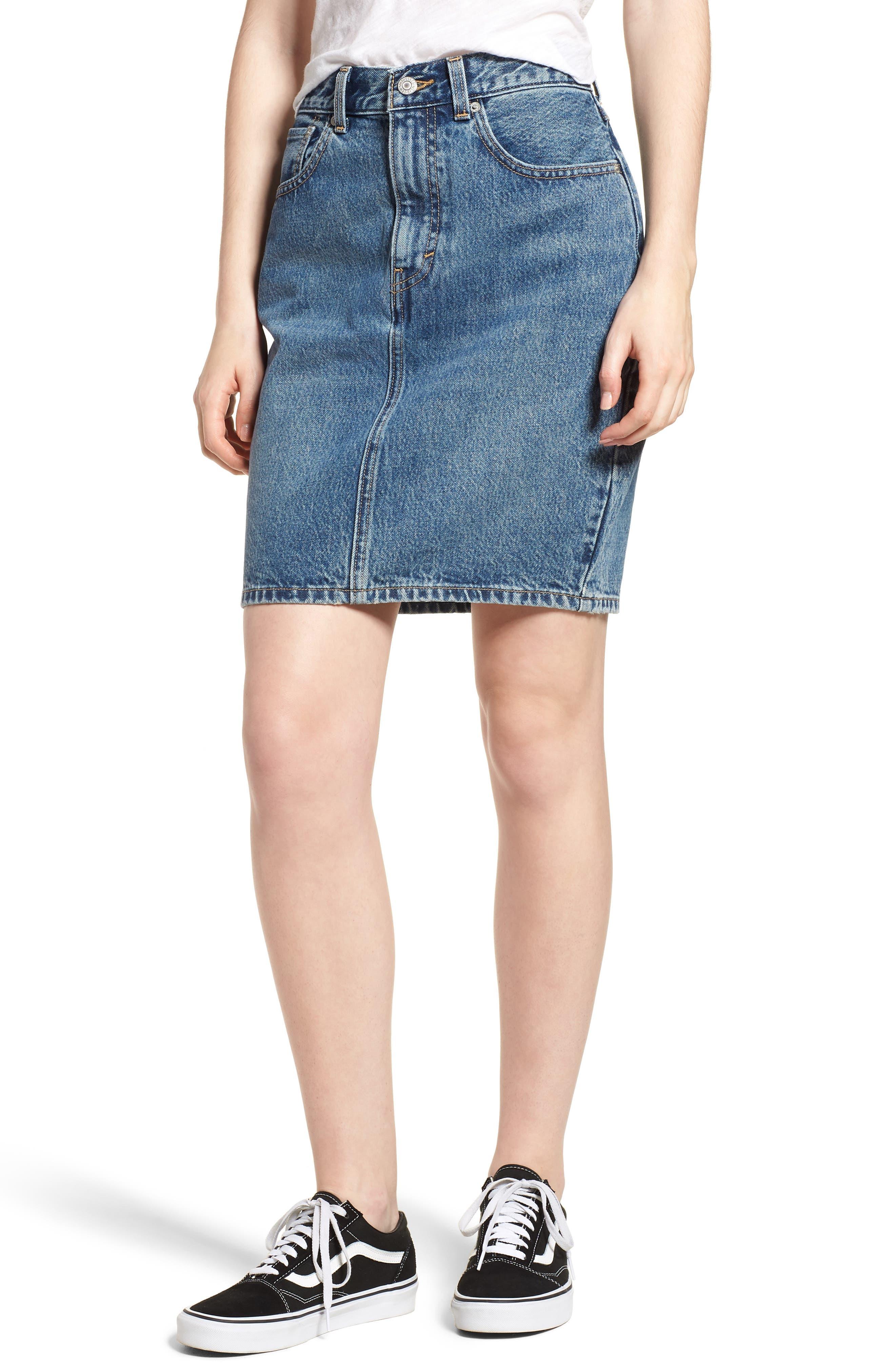 Mom Bow Back Denim Skirt, Main, color, 420