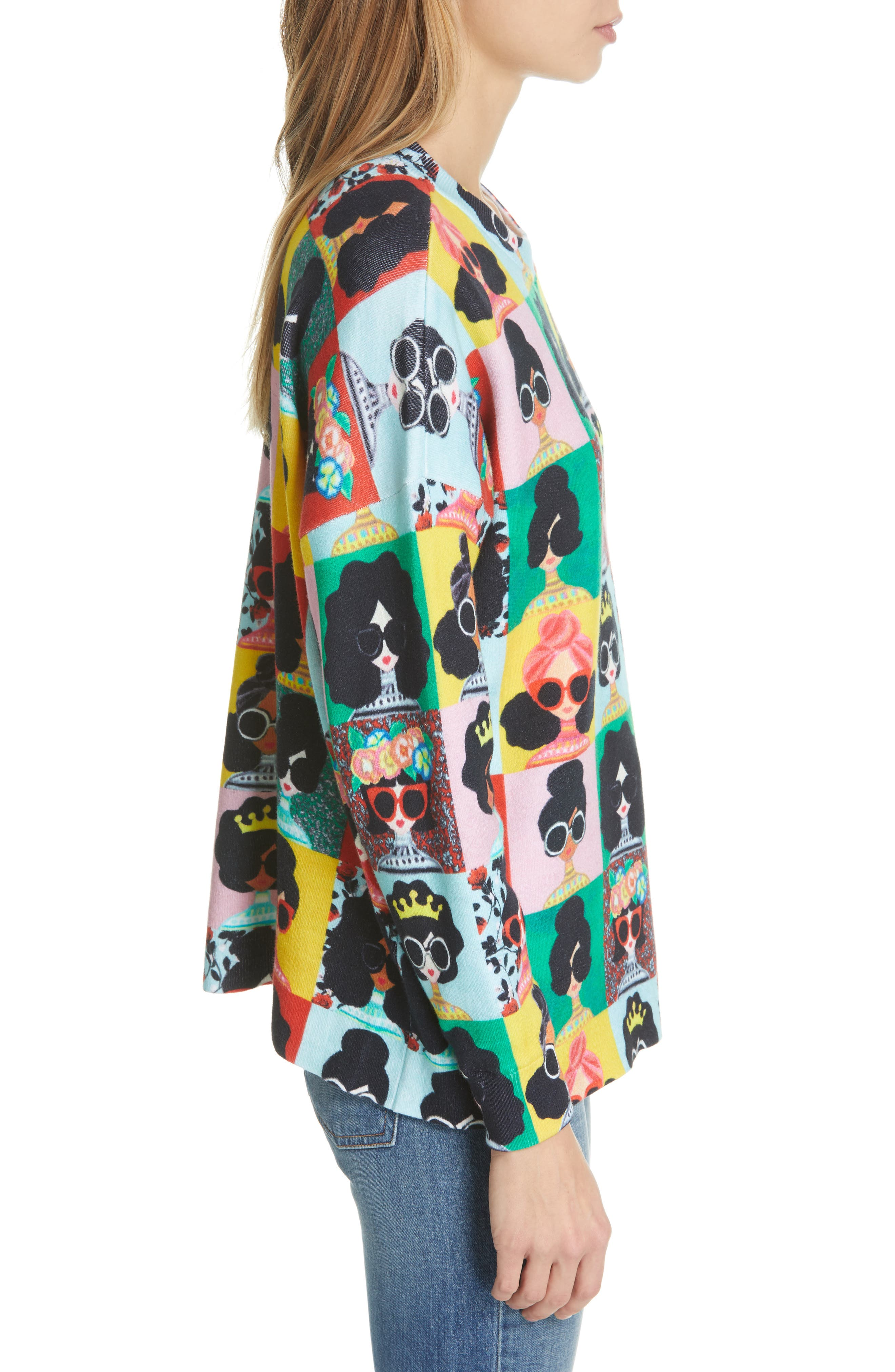 ALICE + OLIVIA,                             Print Pullover,                             Alternate thumbnail 3, color,                             MULTI