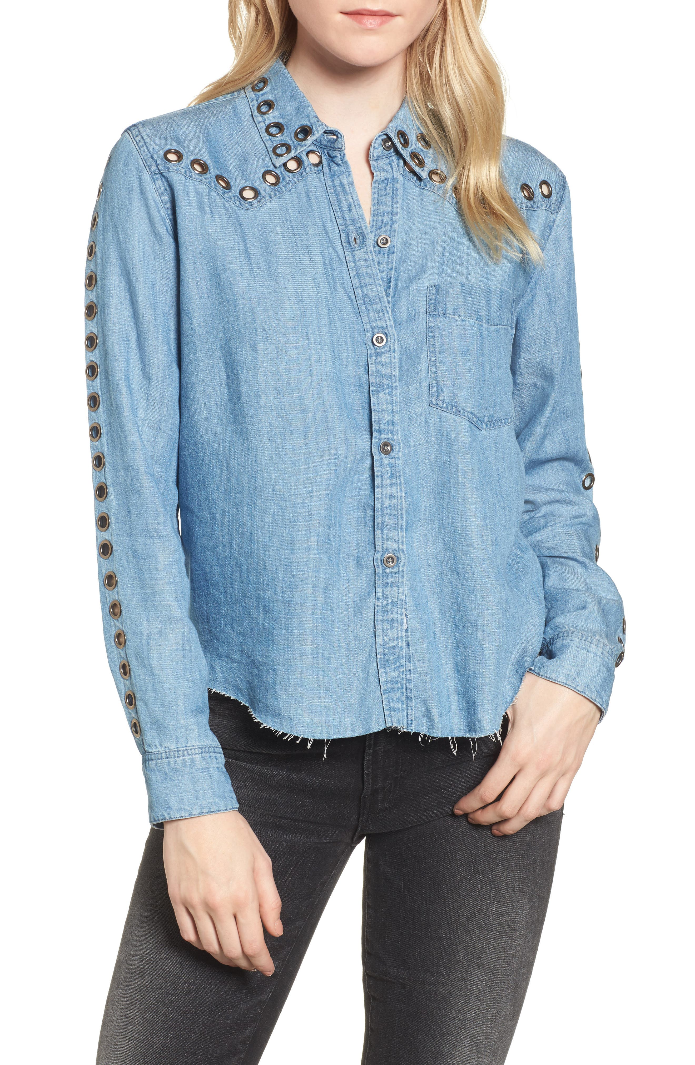 Grommet Chambray Shirt,                         Main,                         color, 493