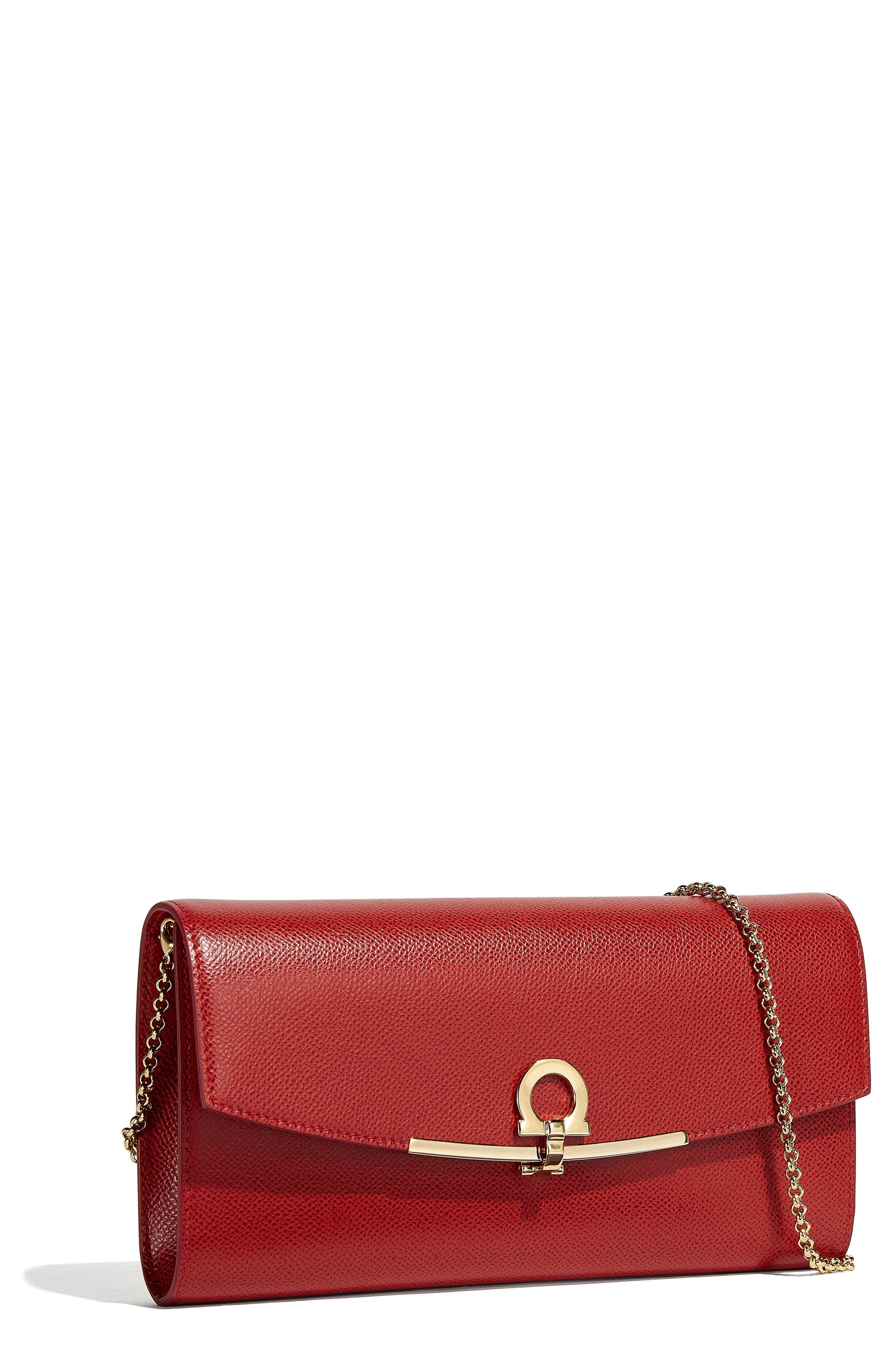Gancio Calfskin Leather Clutch,                         Main,                         color, LIPSTICK