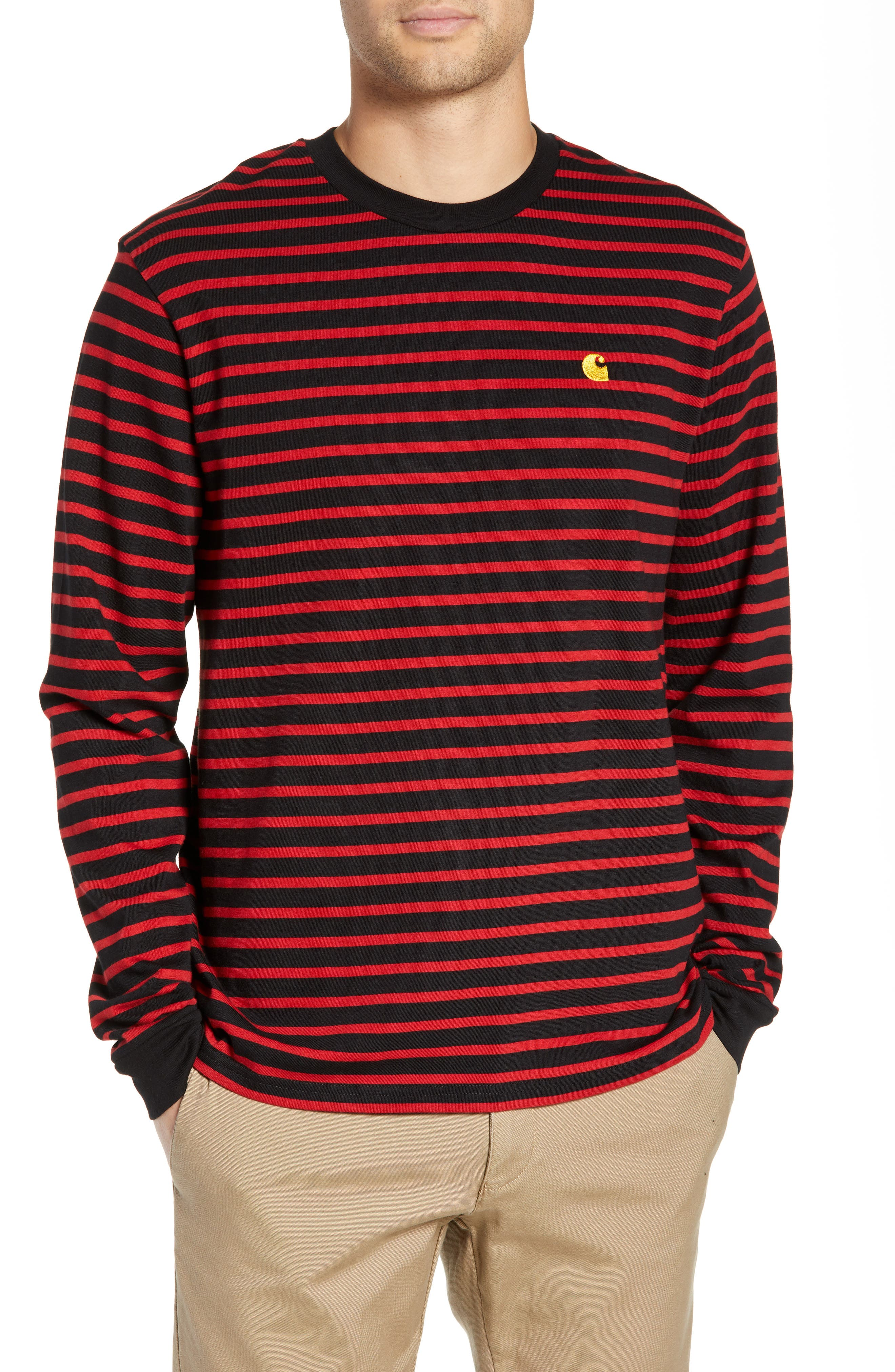 Long Sleeve Robie T-Shirt,                             Main thumbnail 1, color,                             BLACK/BLAST RED/QUINCE