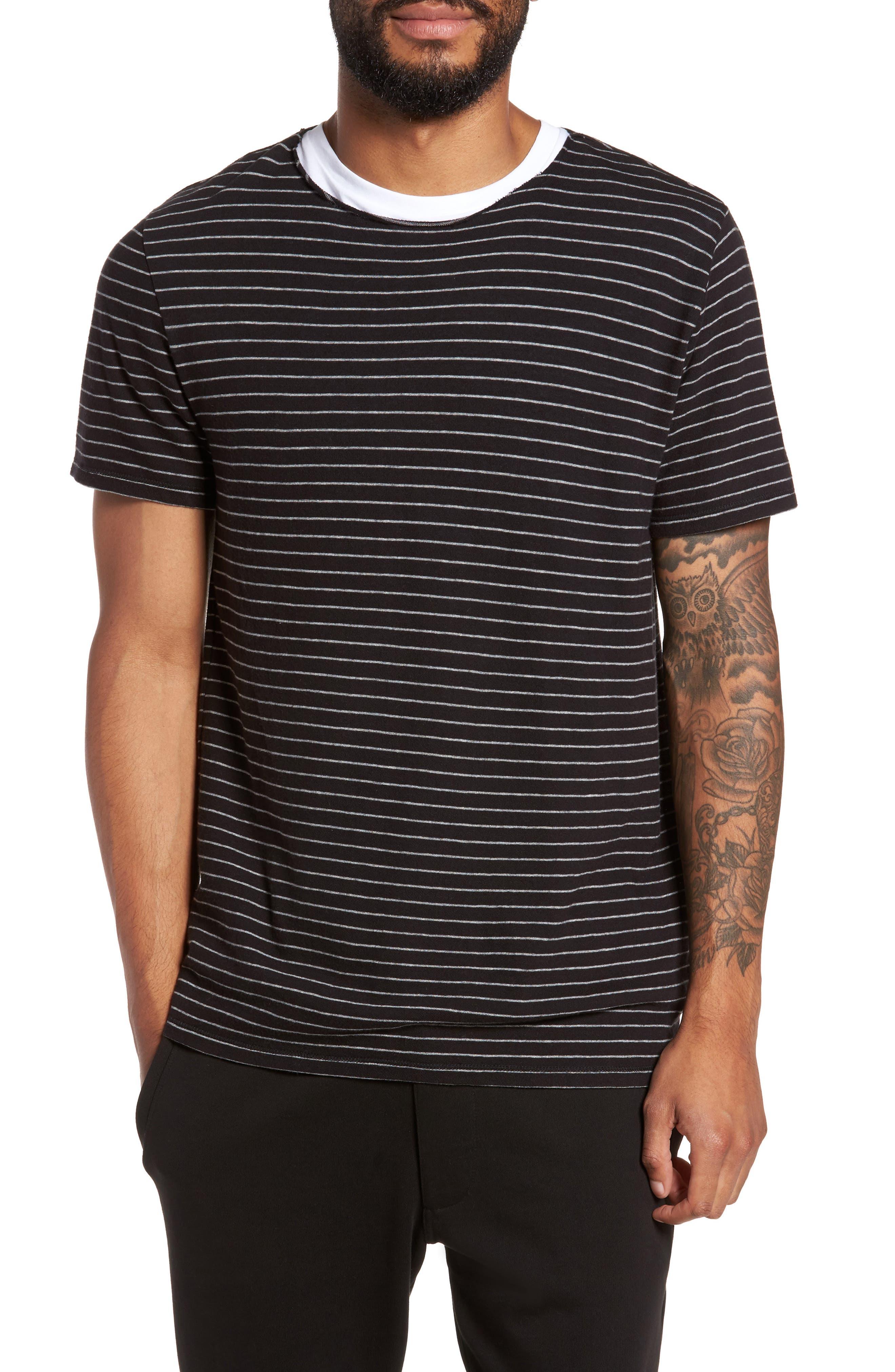 Raw Edge Stripe T-Shirt,                             Main thumbnail 1, color,                             002