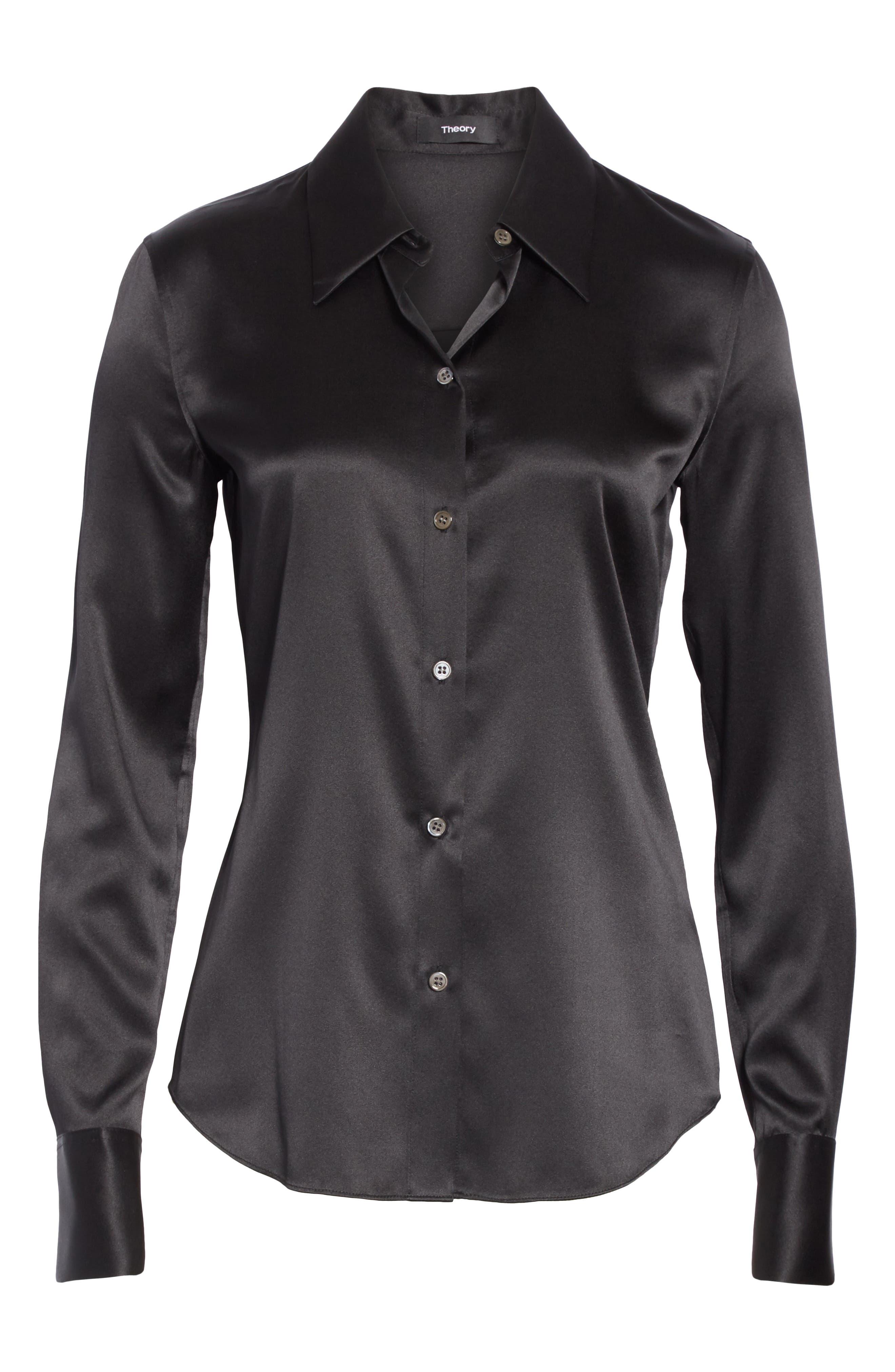 Perfect Fit Stretch Silk Blouse,                             Alternate thumbnail 6, color,                             BLACK