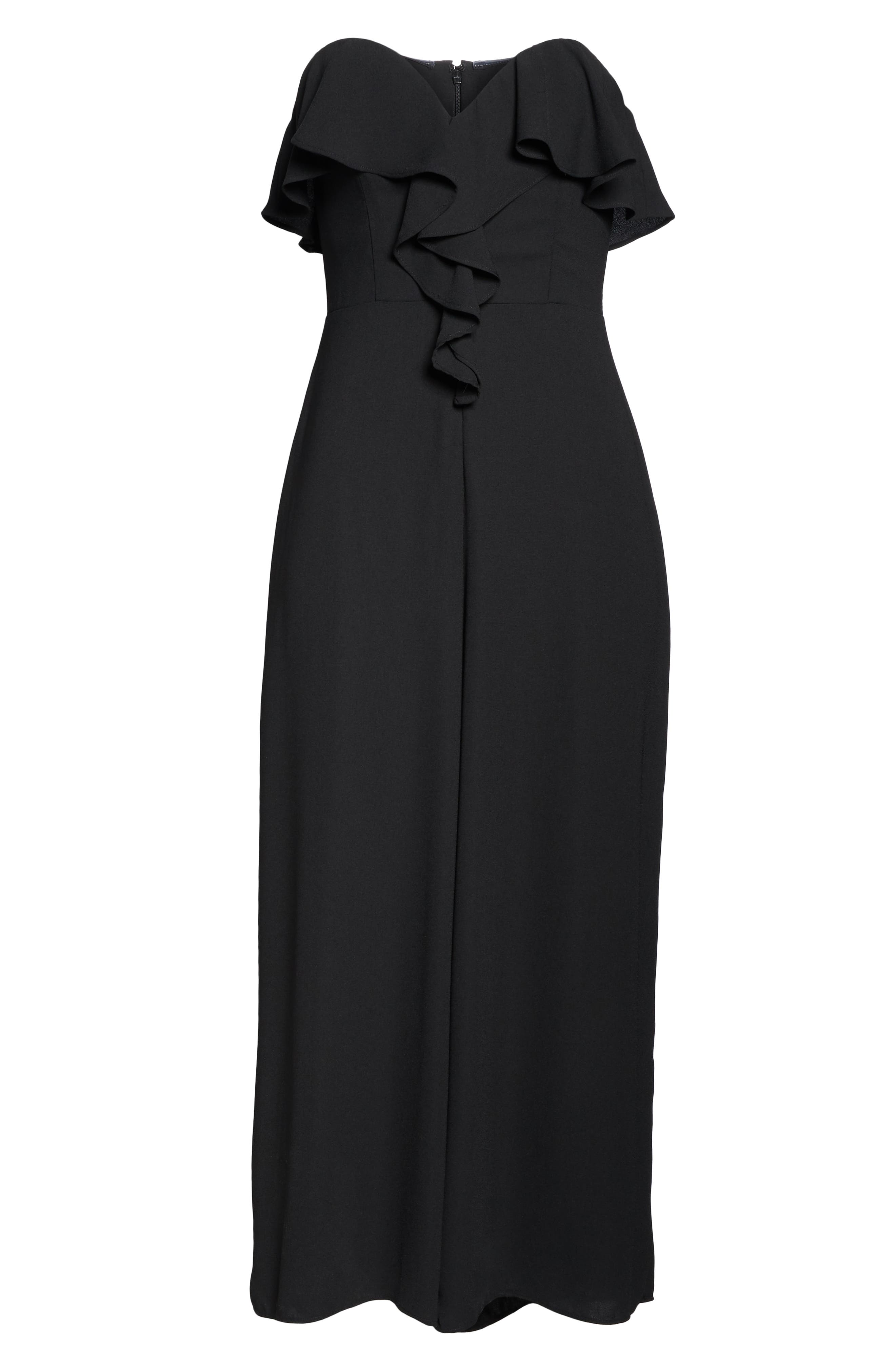 CHELSEA28,                             Strapless Ruffle Front Jumpsuit,                             Alternate thumbnail 7, color,                             BLACK