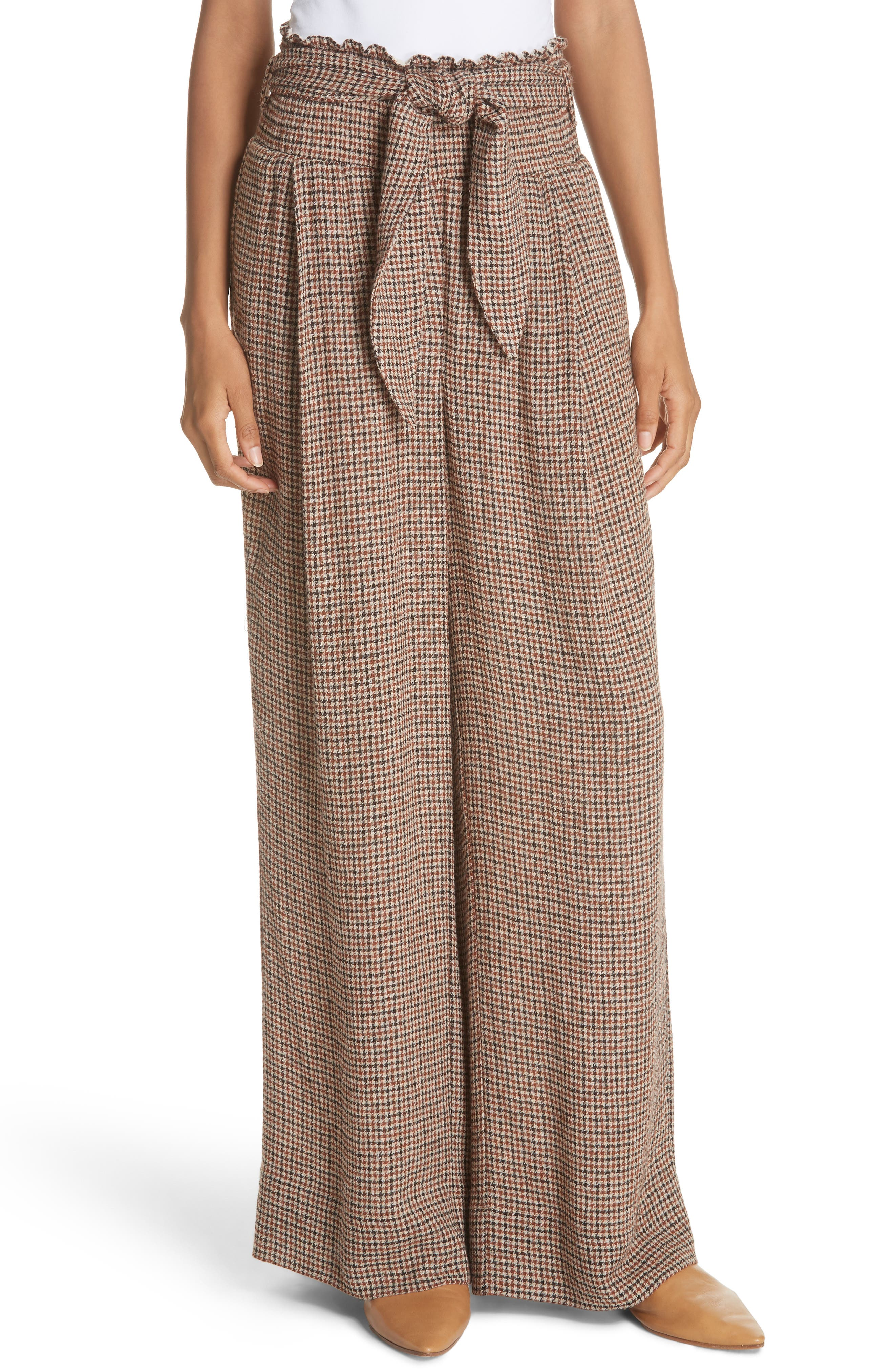 Private Houndstooth Tie Waist Pants,                         Main,                         color, CHECK