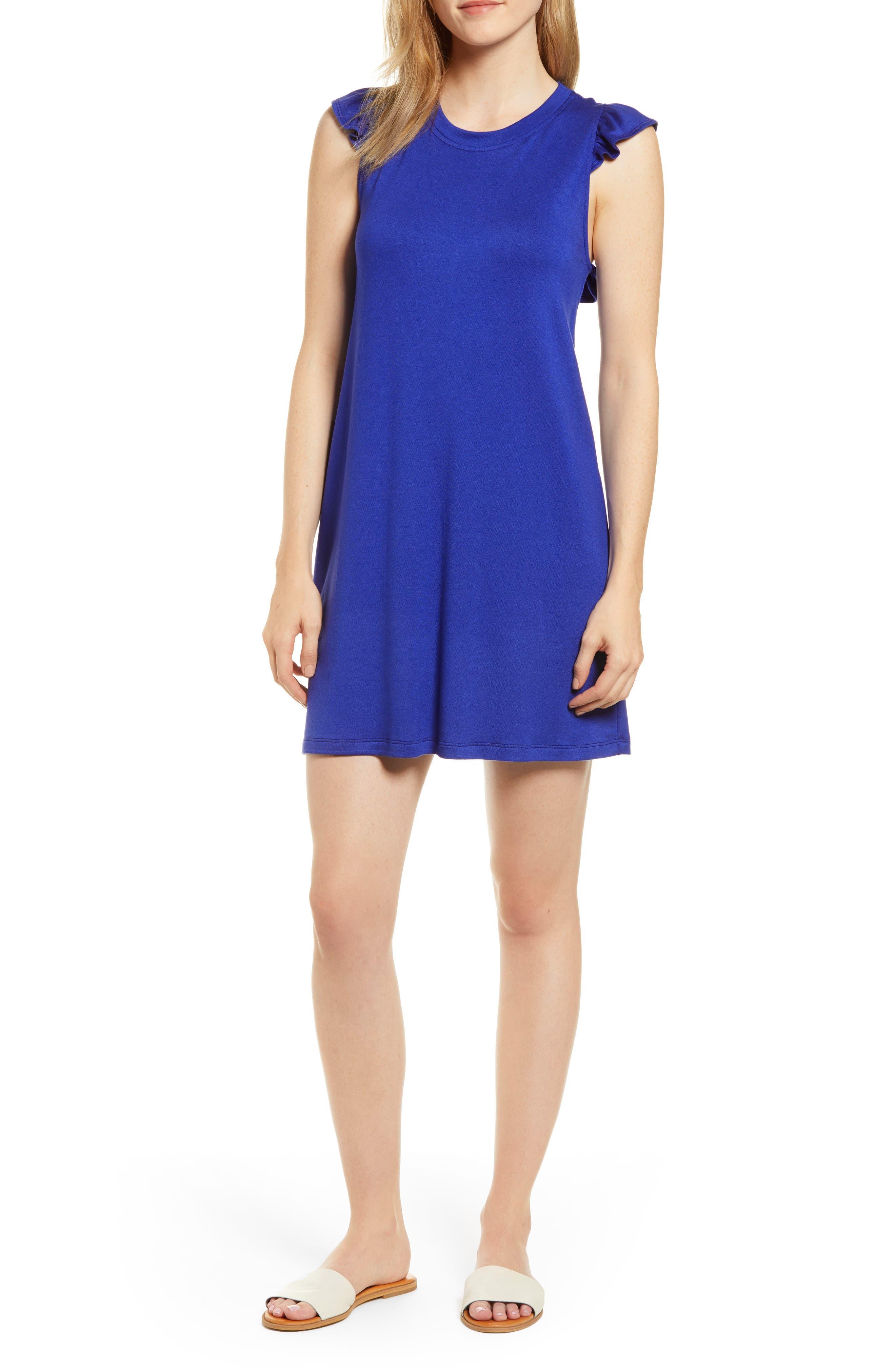Petite Gibson X Hi Sugarplum! Laguna Soft Jersey Ruffle Back T-Shirt Dress, Blue