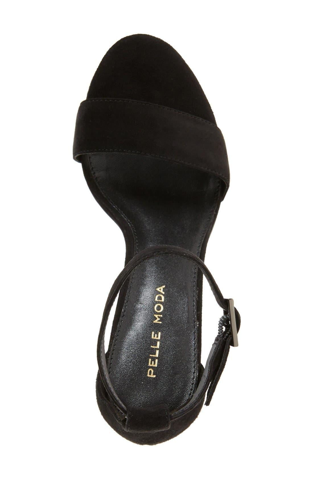 Bonnie Ankle Strap Sandal,                             Alternate thumbnail 3, color,                             BLACK SUEDE